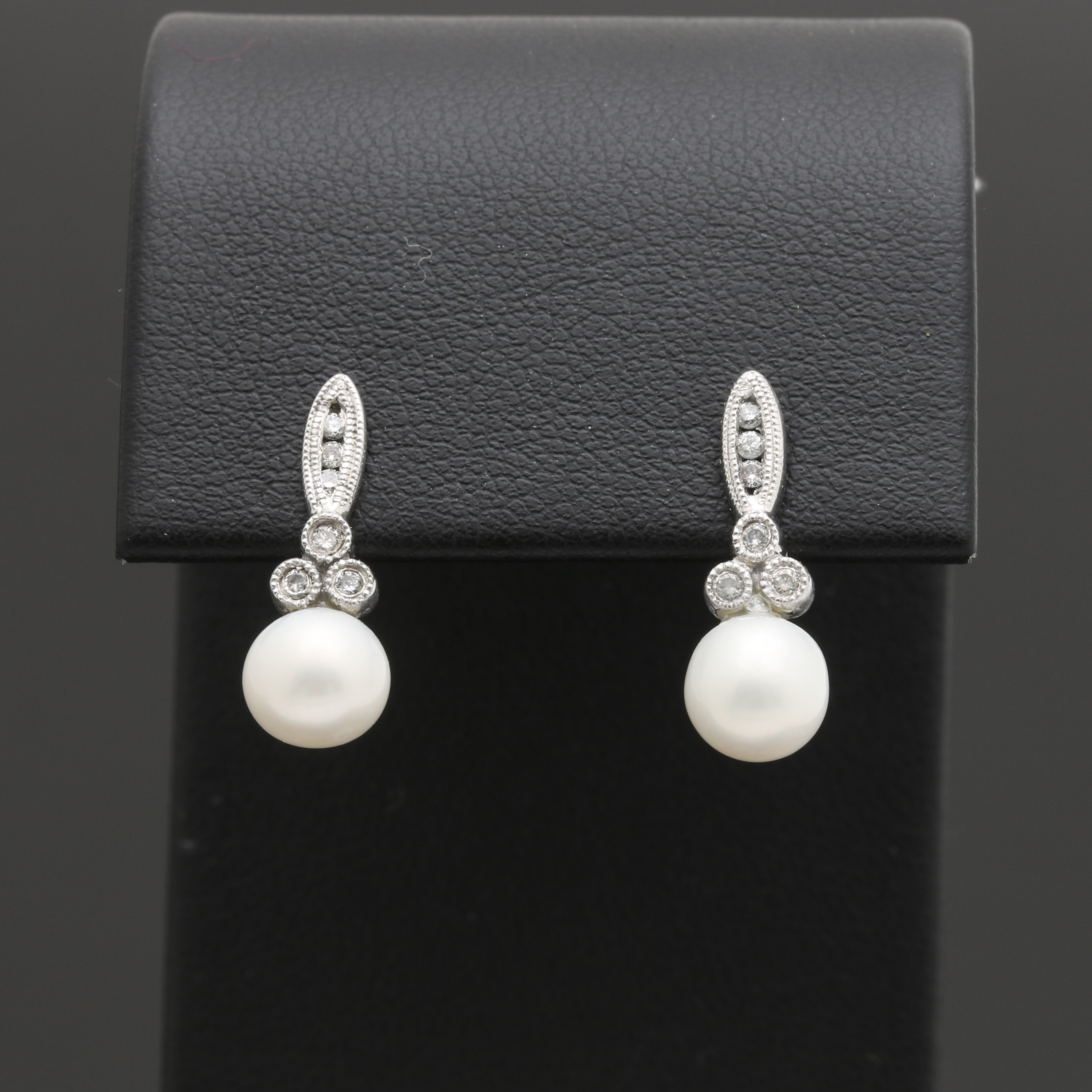 10K White Gold Cultured Pearl and Diamond Earrings