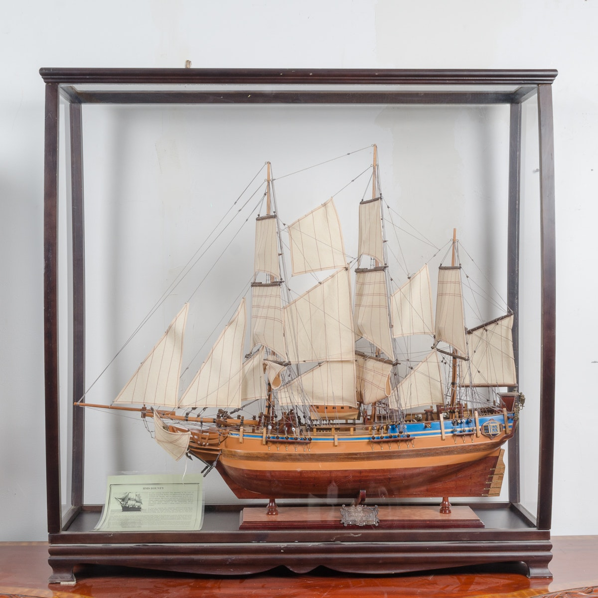 Model H.M.S Bounty Ship in Wood Display Box