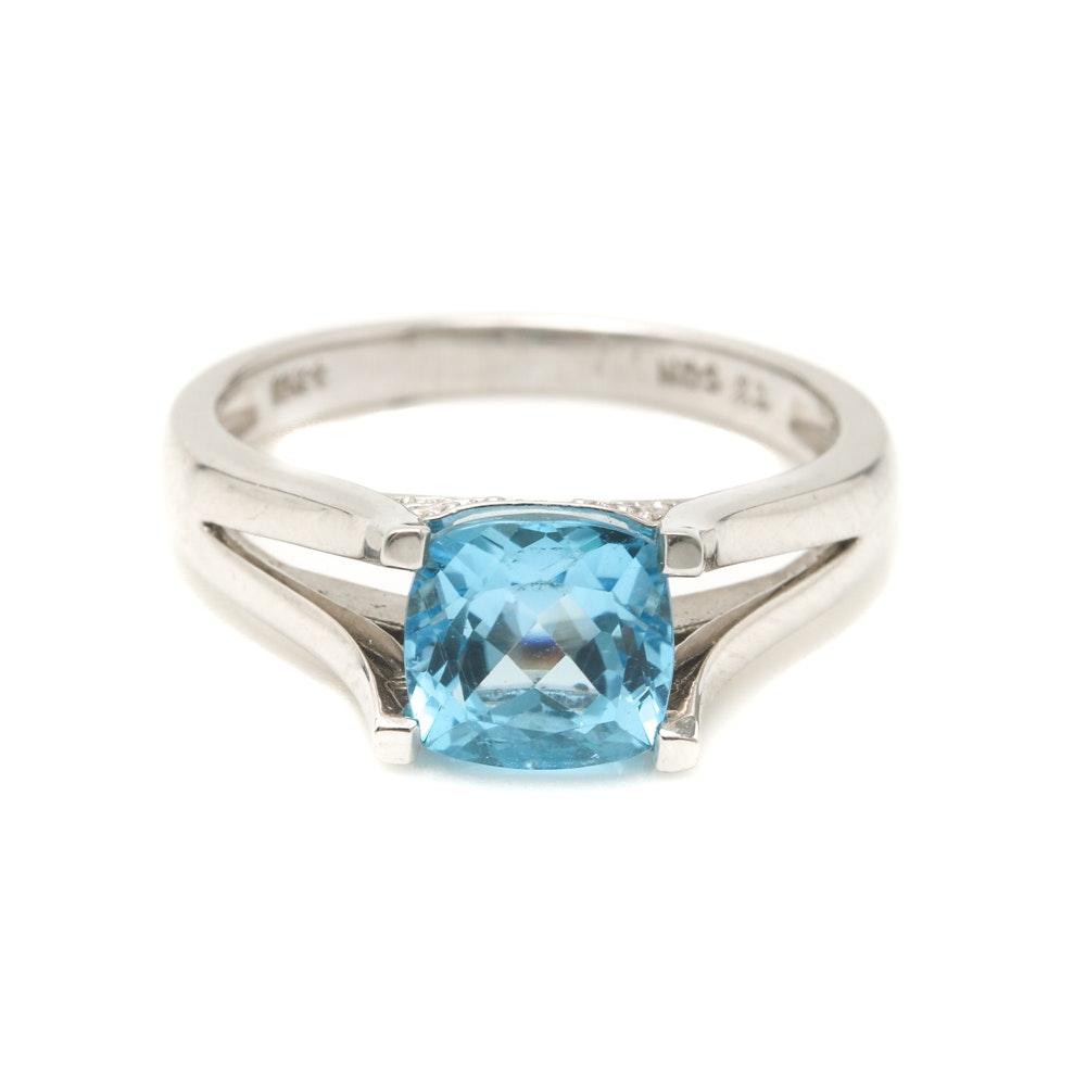 Helzberg 10K White Gold Blue Topaz and Diamond Ring
