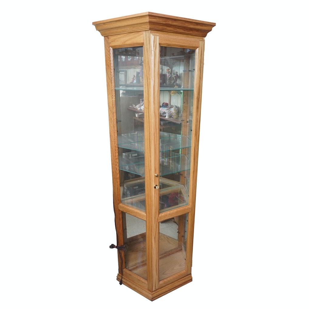 Vintage Oak Curio Cabinet