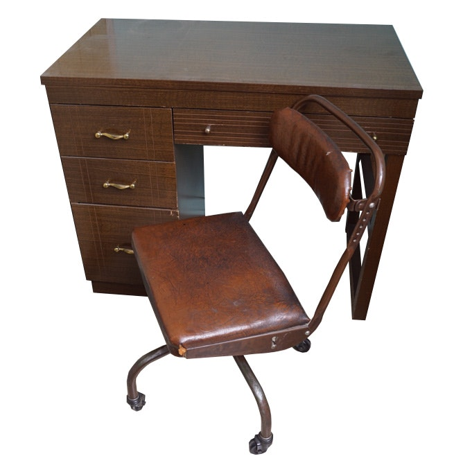 Vintage Kneehole Desk and Artility Posture Chair
