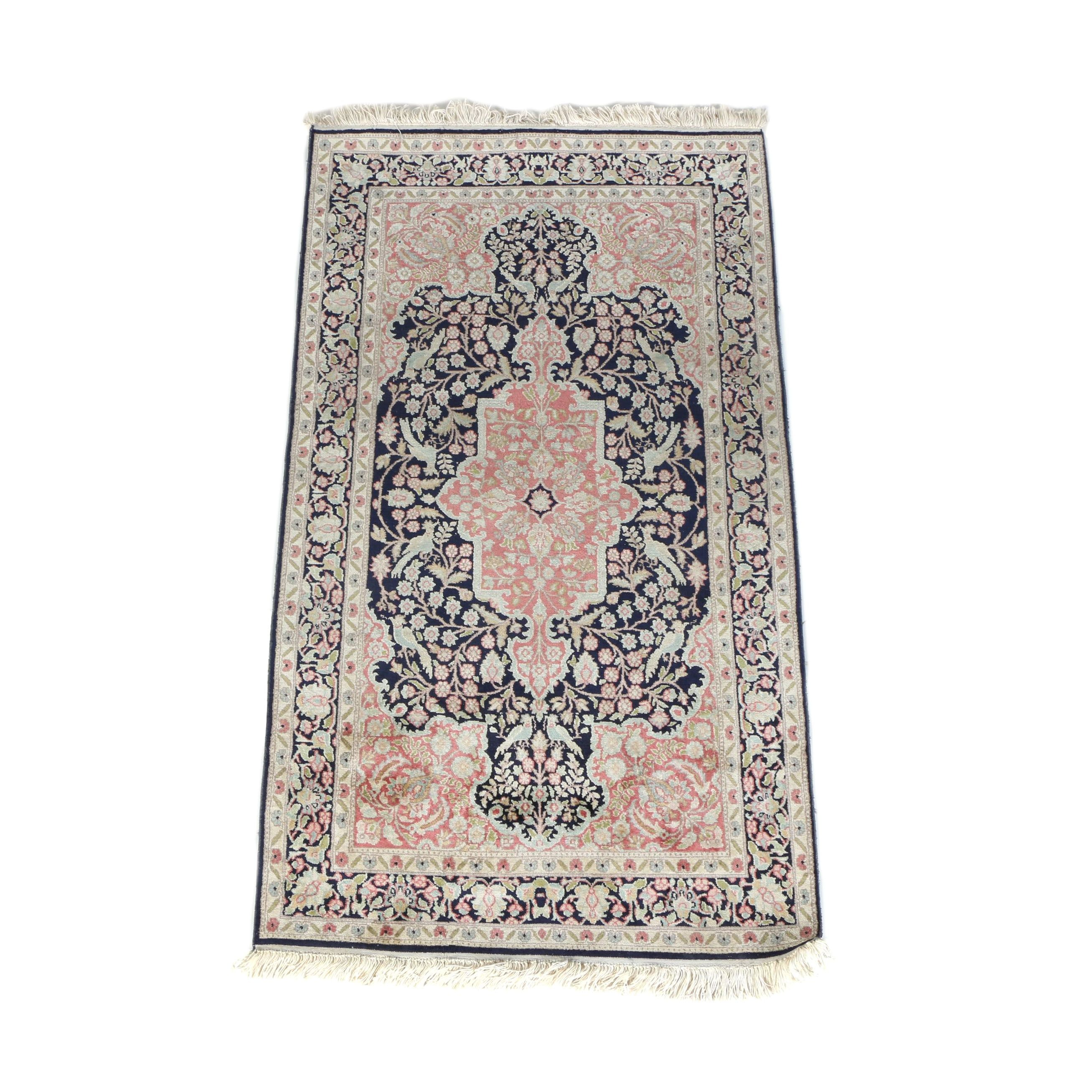 Hand-Knotted Persian Tabriz Silk and Wool Area Rug