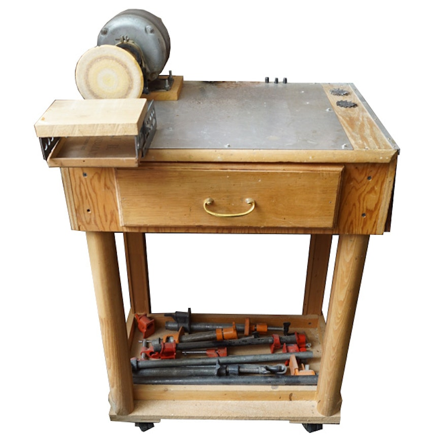 Homemade Disk Sander with Workbench : EBTH on homemade thickness sander plans, homemade drum sander parts kits, homemade pipe sander plans, homemade lathe compound feed, homemade wood sander machine for, homemade edge sander plans, homemade spindle sander plans,