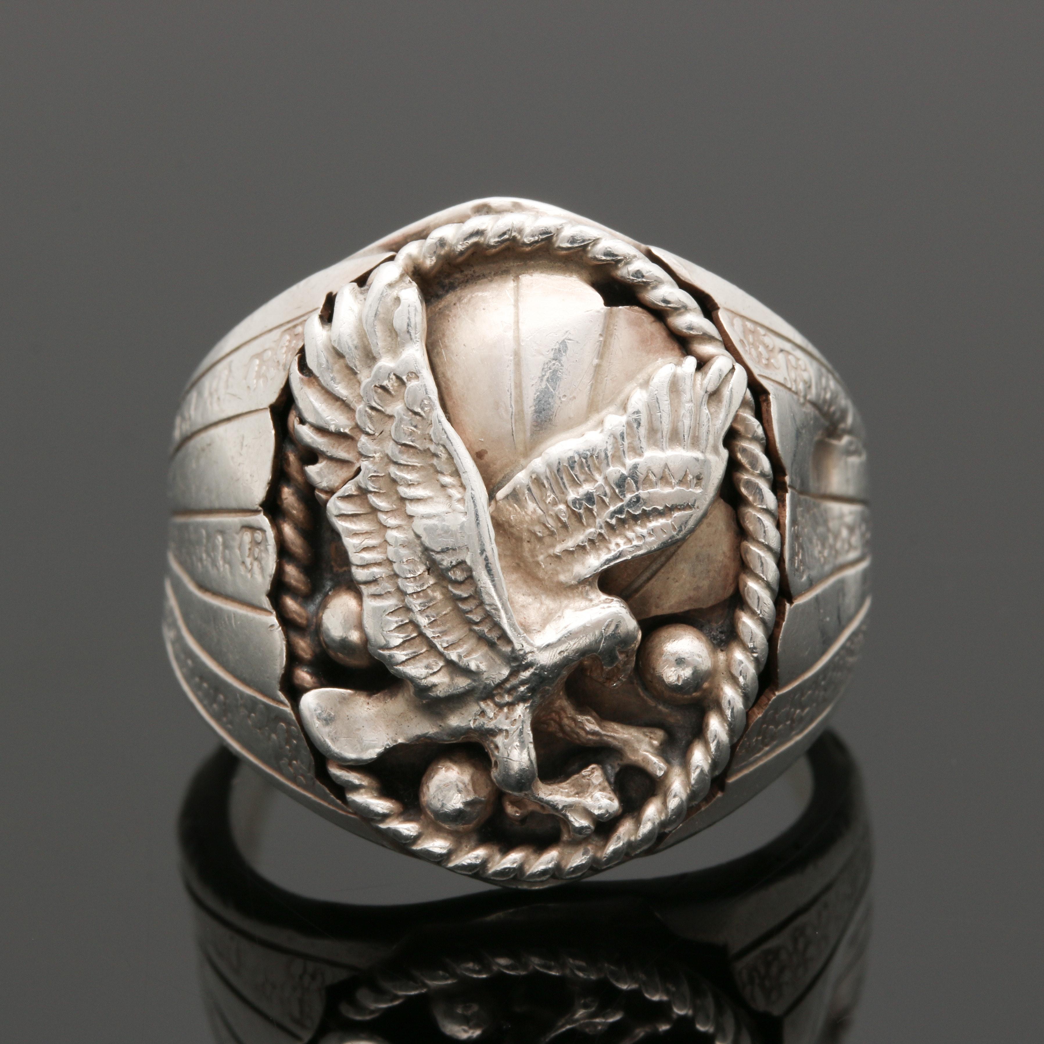 Vintage Silver Ray Navajo Diné Appliqué Ring