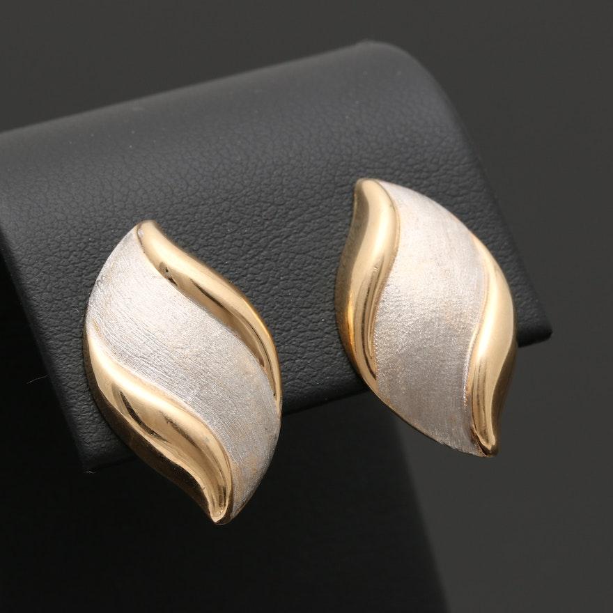 14k Two Tone Gold Earrings