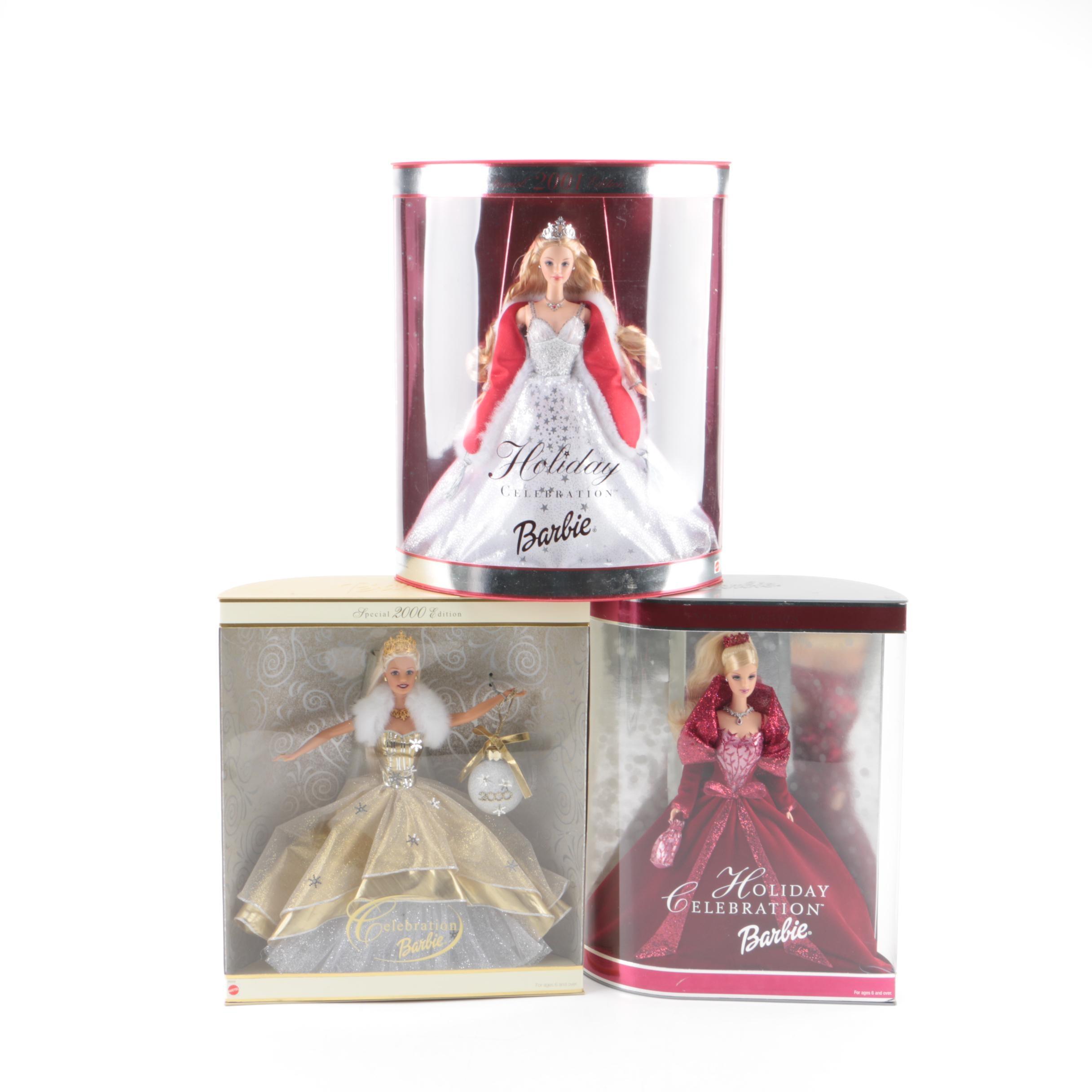 "2000s Mattel ""Holiday Celebration Barbie"" Dolls"