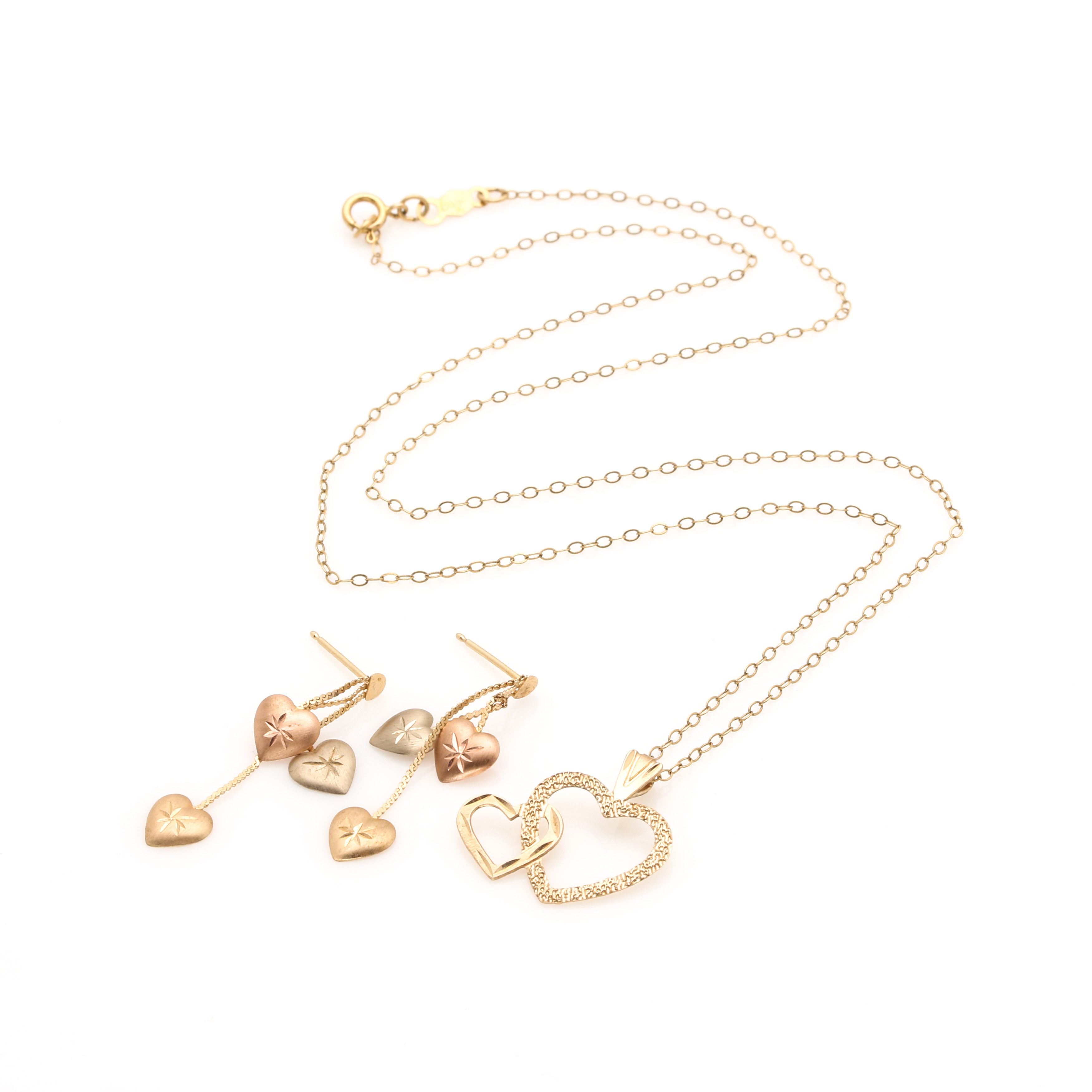 14K Yellow Gold Heart Necklace and Earring Set With Rose Gold Accents