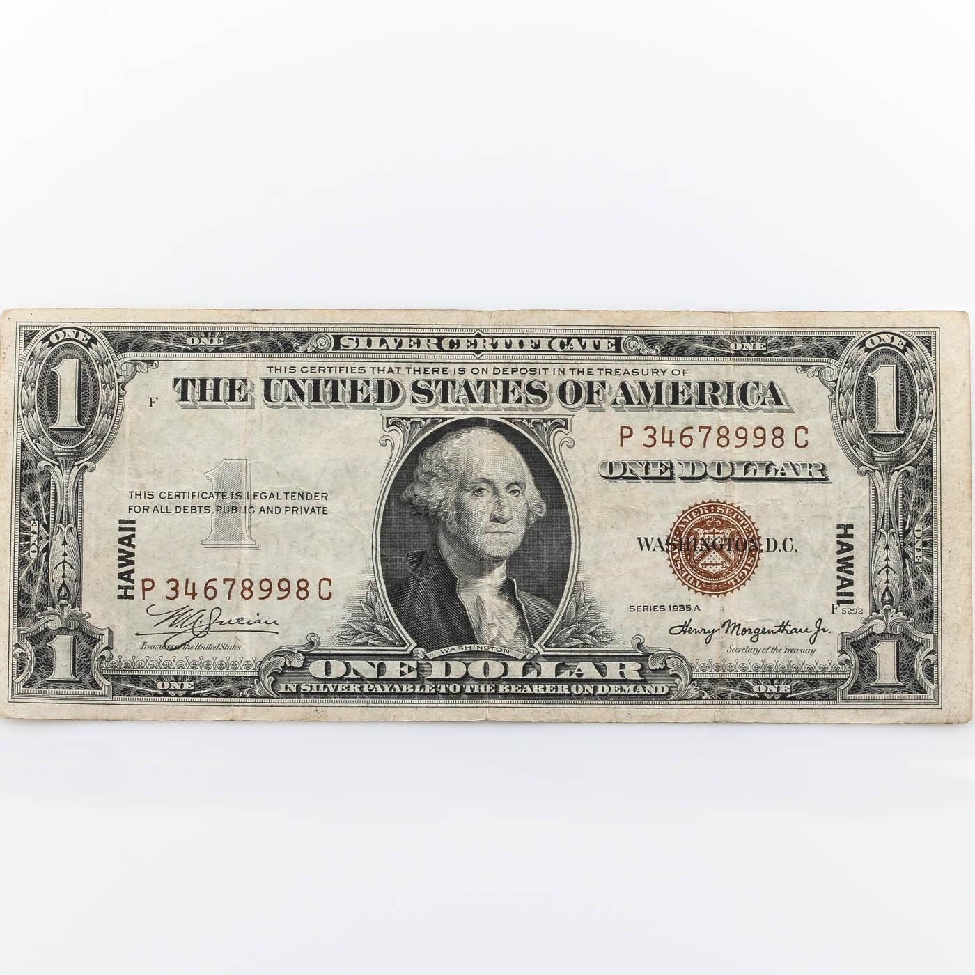 1935 A Brown Seal Hawaii $1 Silver Certificate