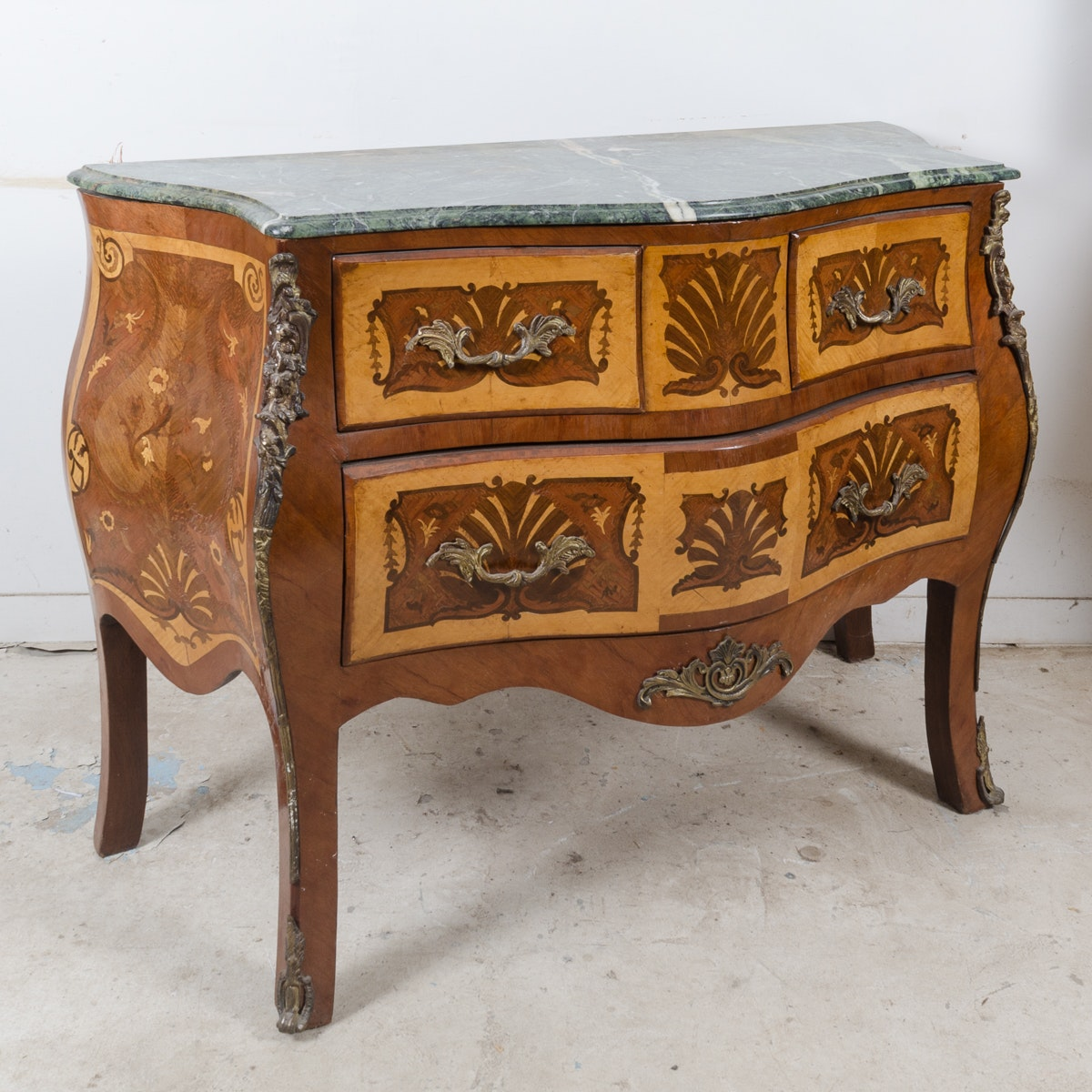 Louis XV Style Walnut Bombé Chest