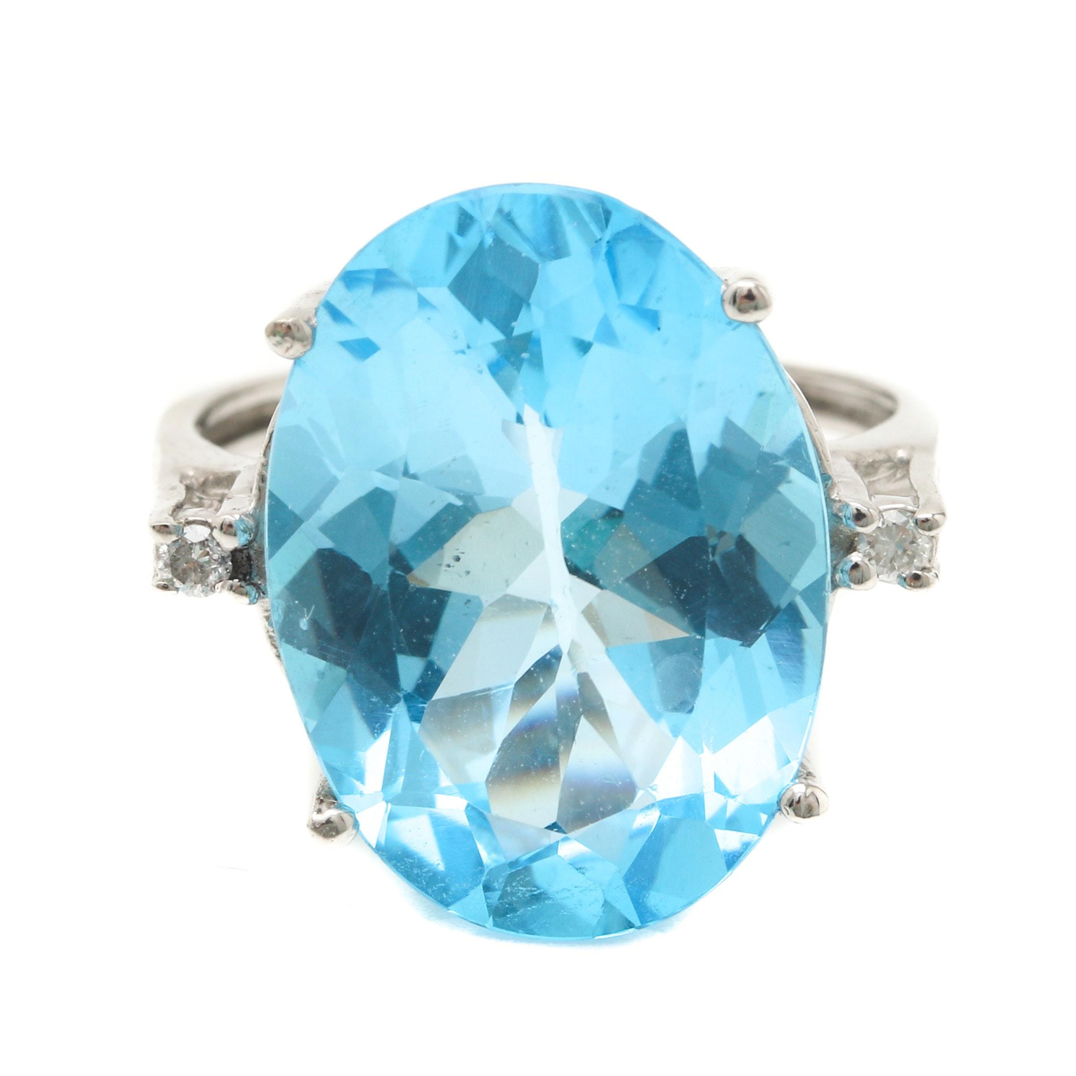 10K White Gold Blue Topaz and Diamond Cocktail Ring