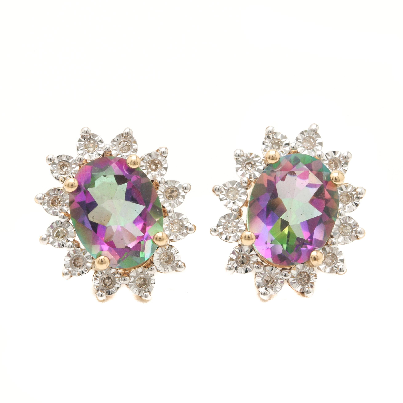 14K Yellow Gold Mystic Topaz and Diamond Earrings