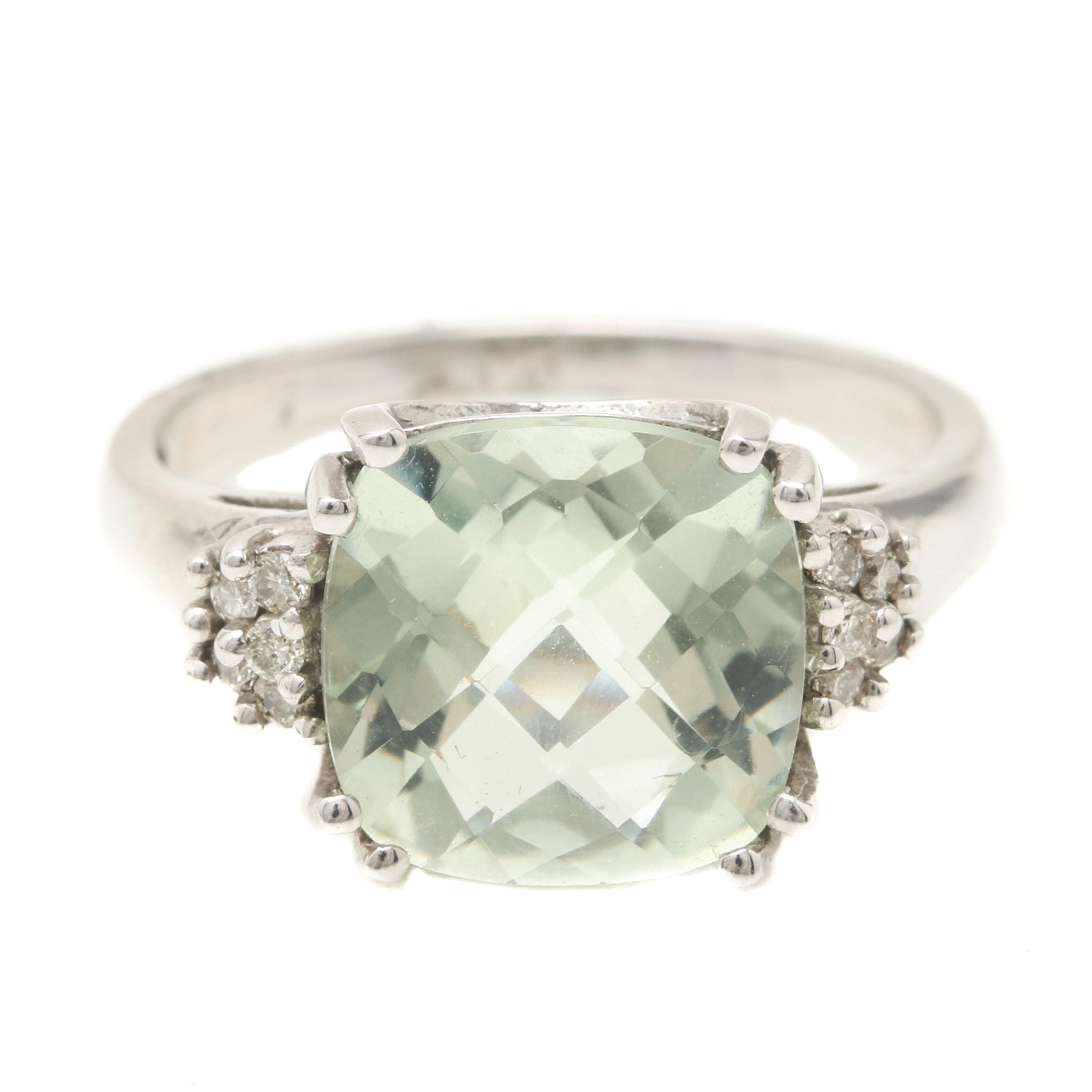10K White Gold Praseolite and Diamond Ring