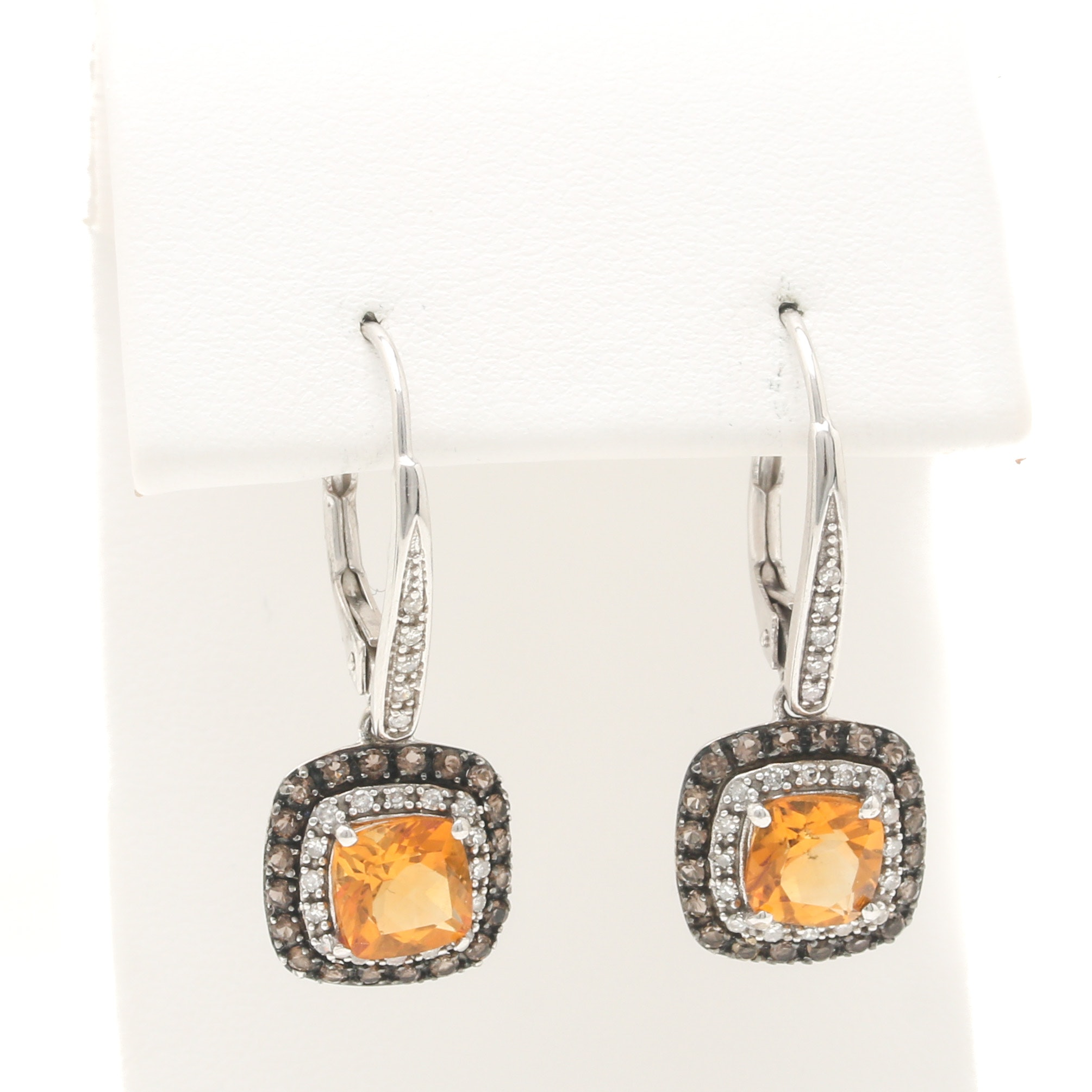 10K White Gold Citrine Smoky Quartz and Diamond Dangle Earrings
