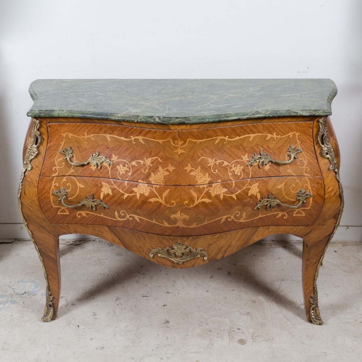Louis XV Style Walnut Veneer Bombé Chest
