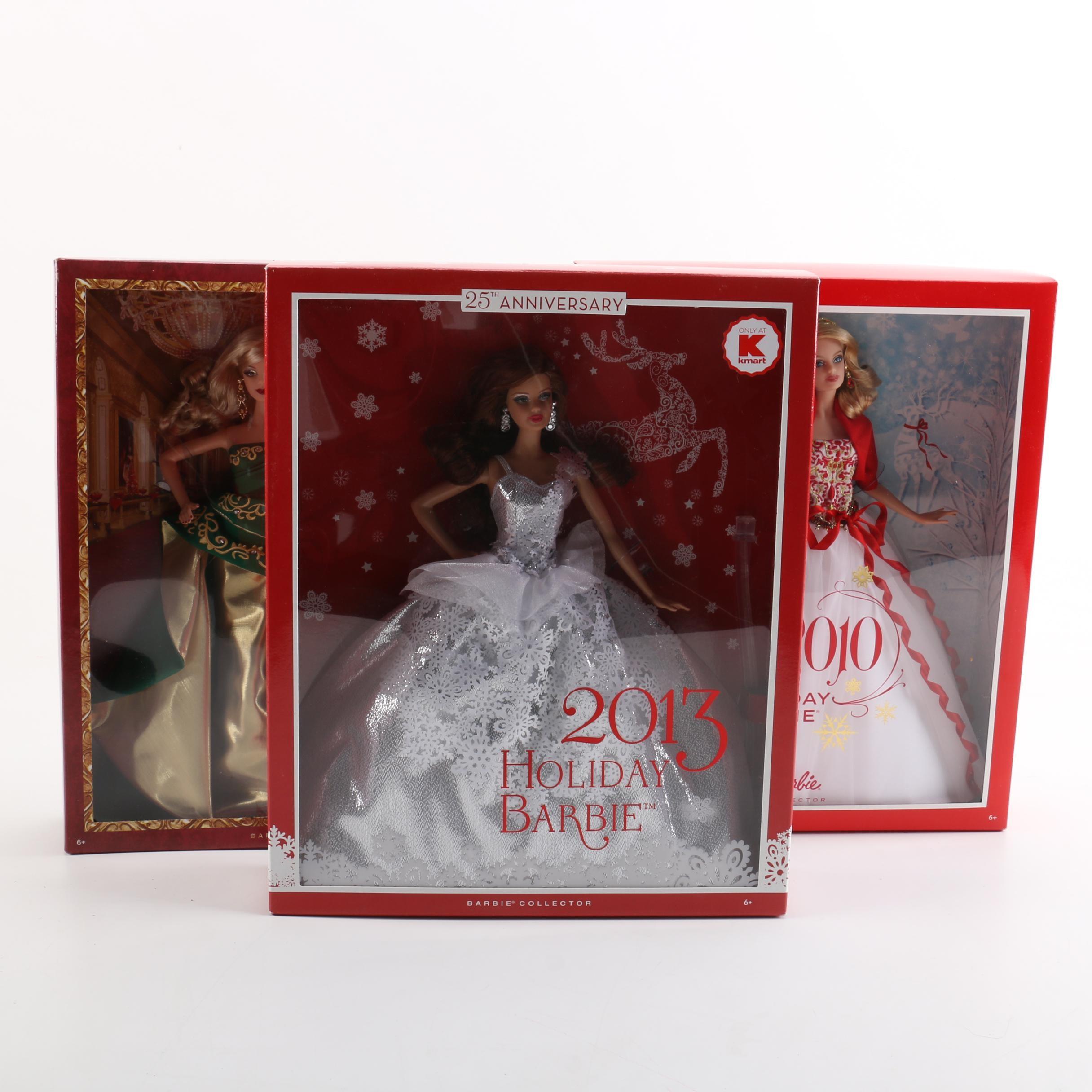 "2010s Mattel ""Holiday Barbie"" Dolls"
