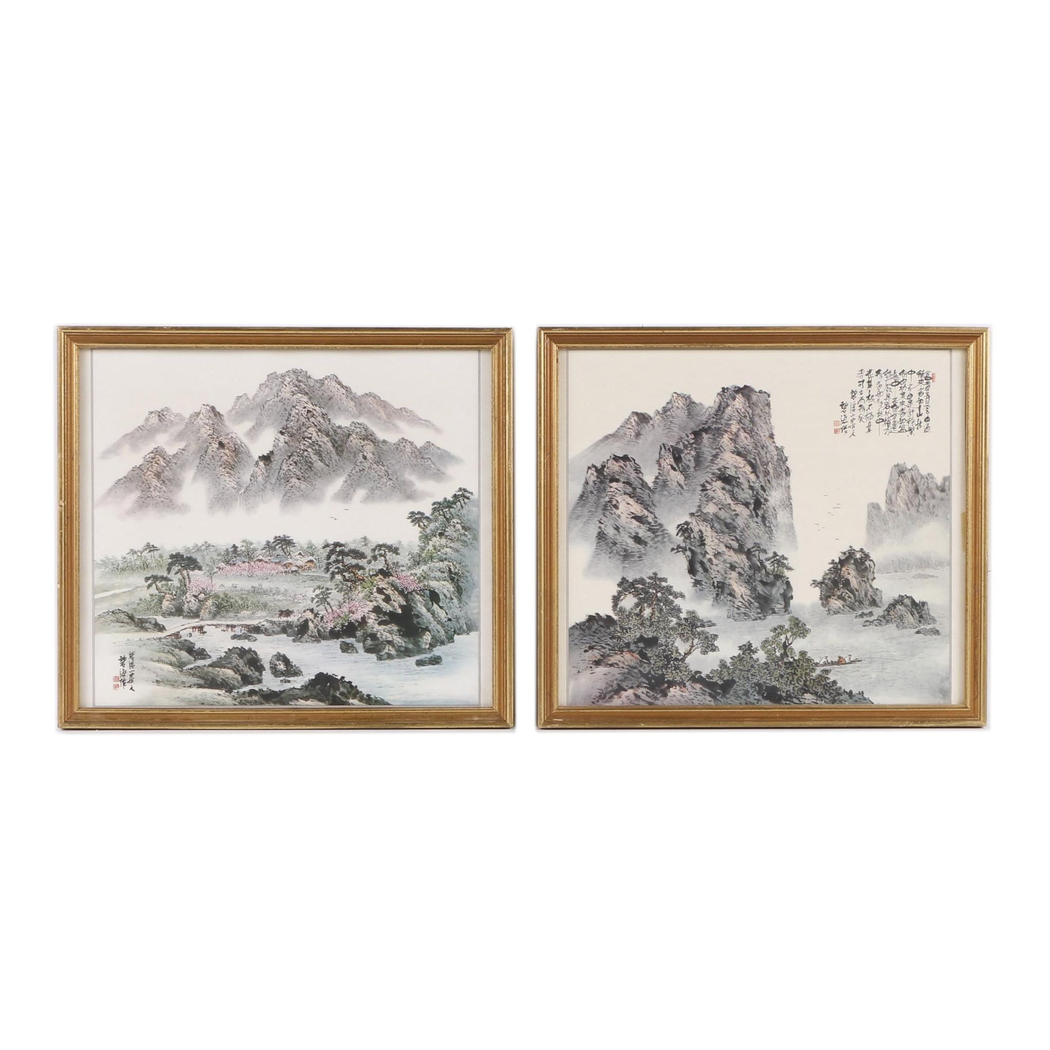 Offset Lithograph Prints After Chinese Landscape Paintings