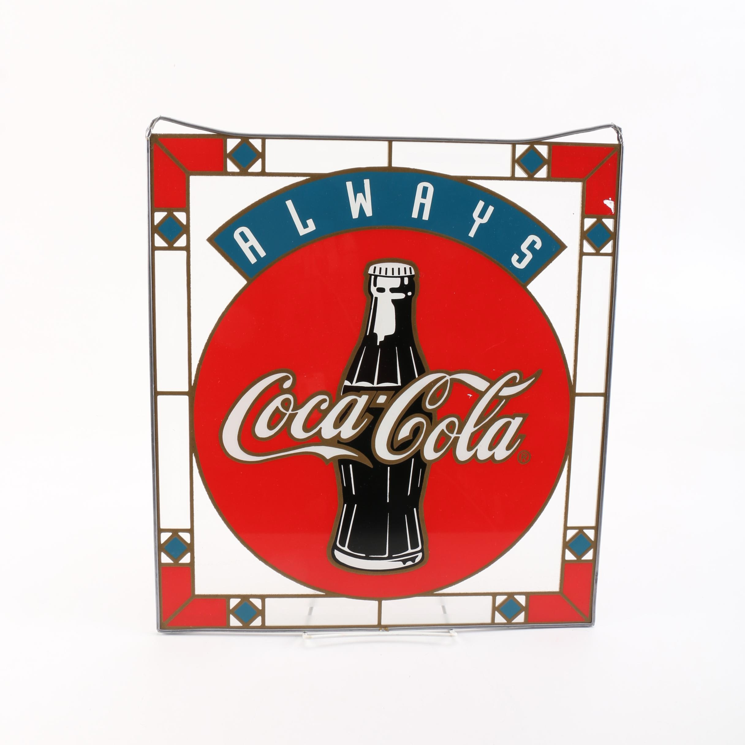 "Vintage Glass ""Coca Cola"" Sign"