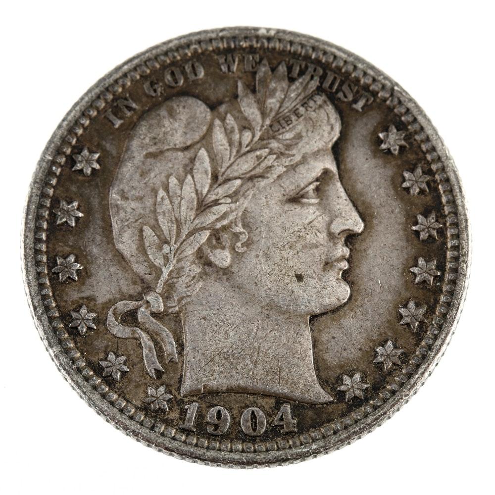 1904 Liberty Head 'Barber' Silver Quarter