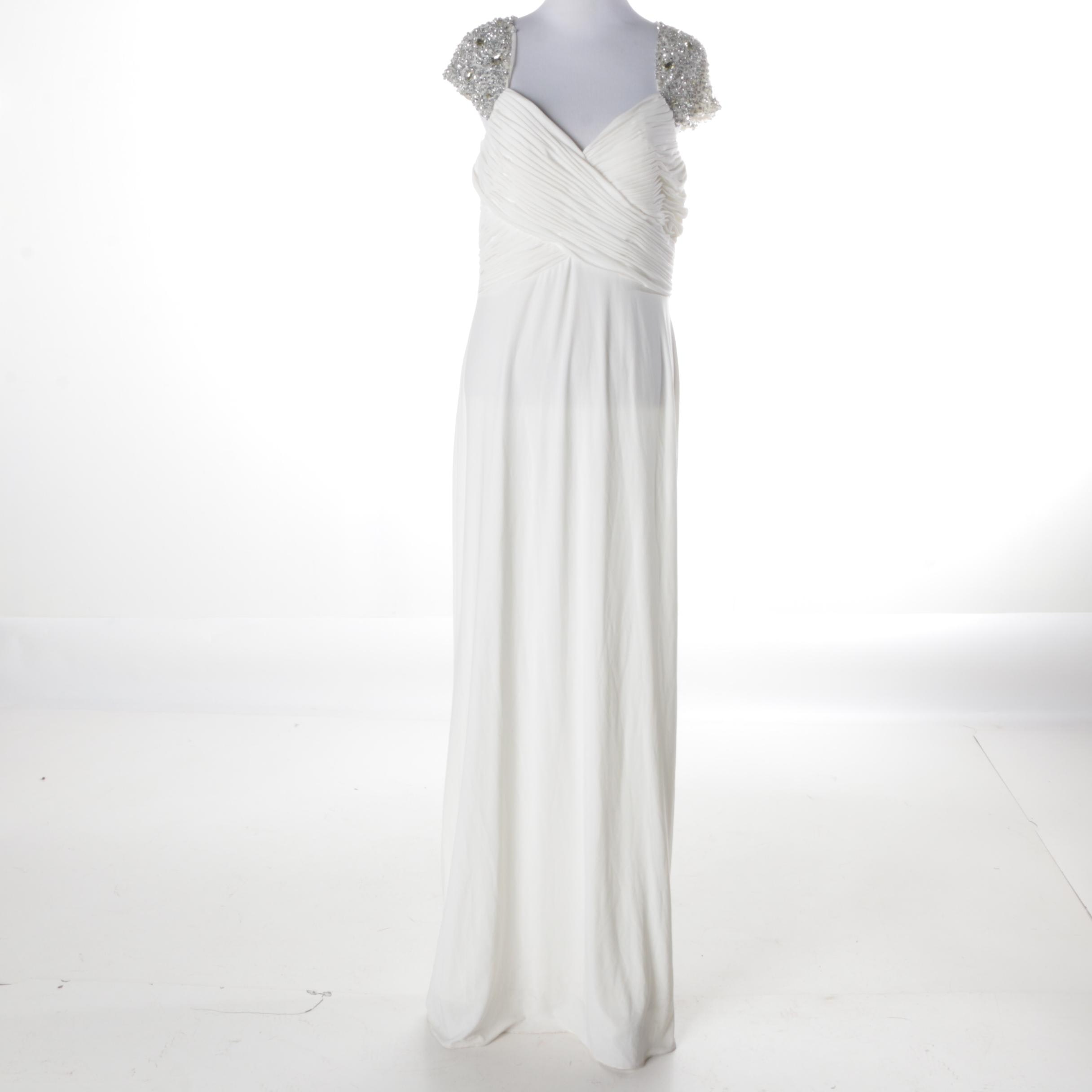 JS Boutique Embellished White Evening Dress