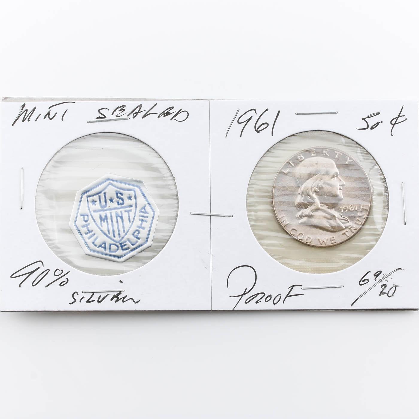 1961 Franklin Silver Half Dollar Proof Coin