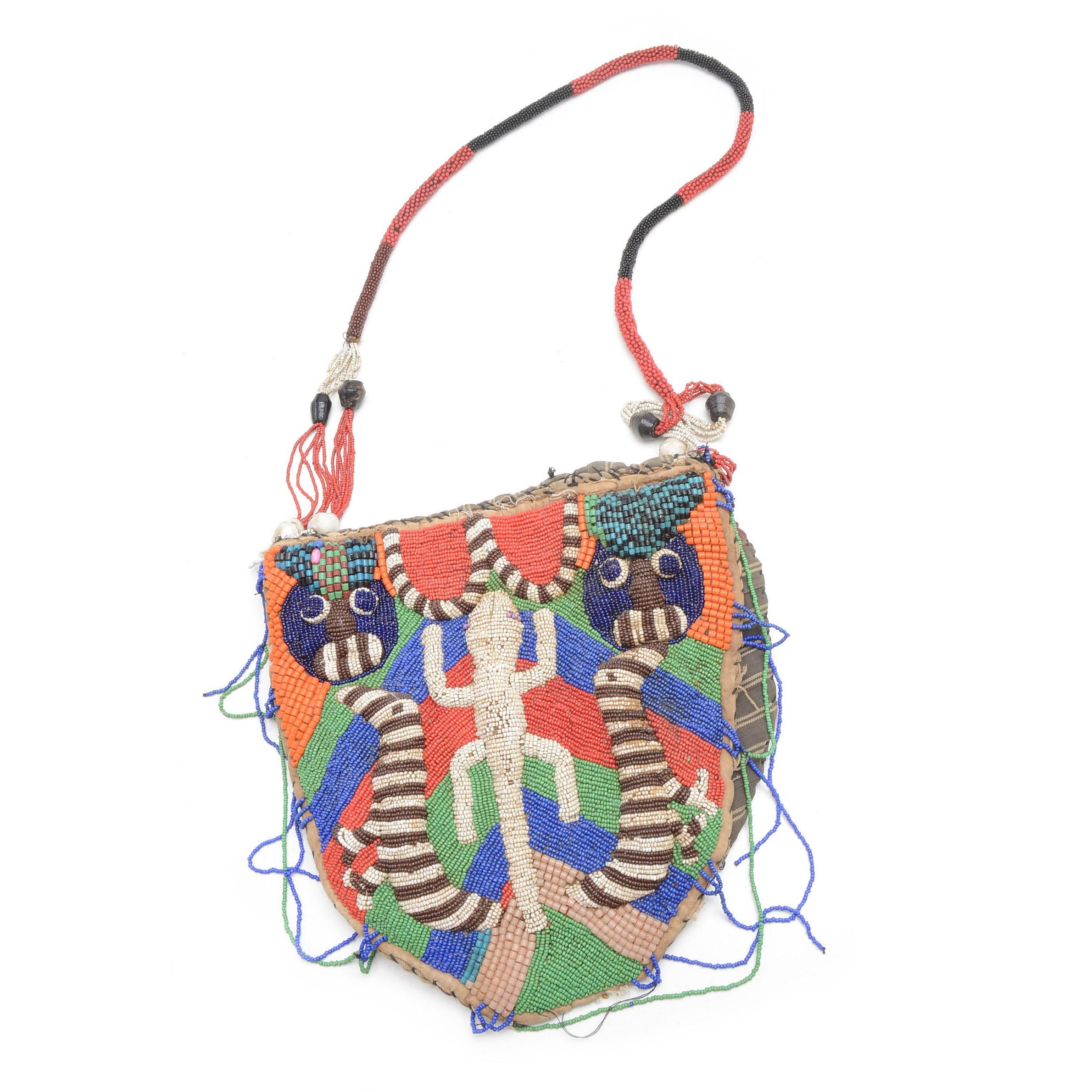 Vintage Yoruba Beaded Diviners Bag