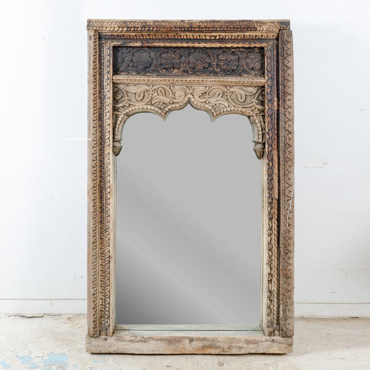 Large Ornately Carved Wood Mirror