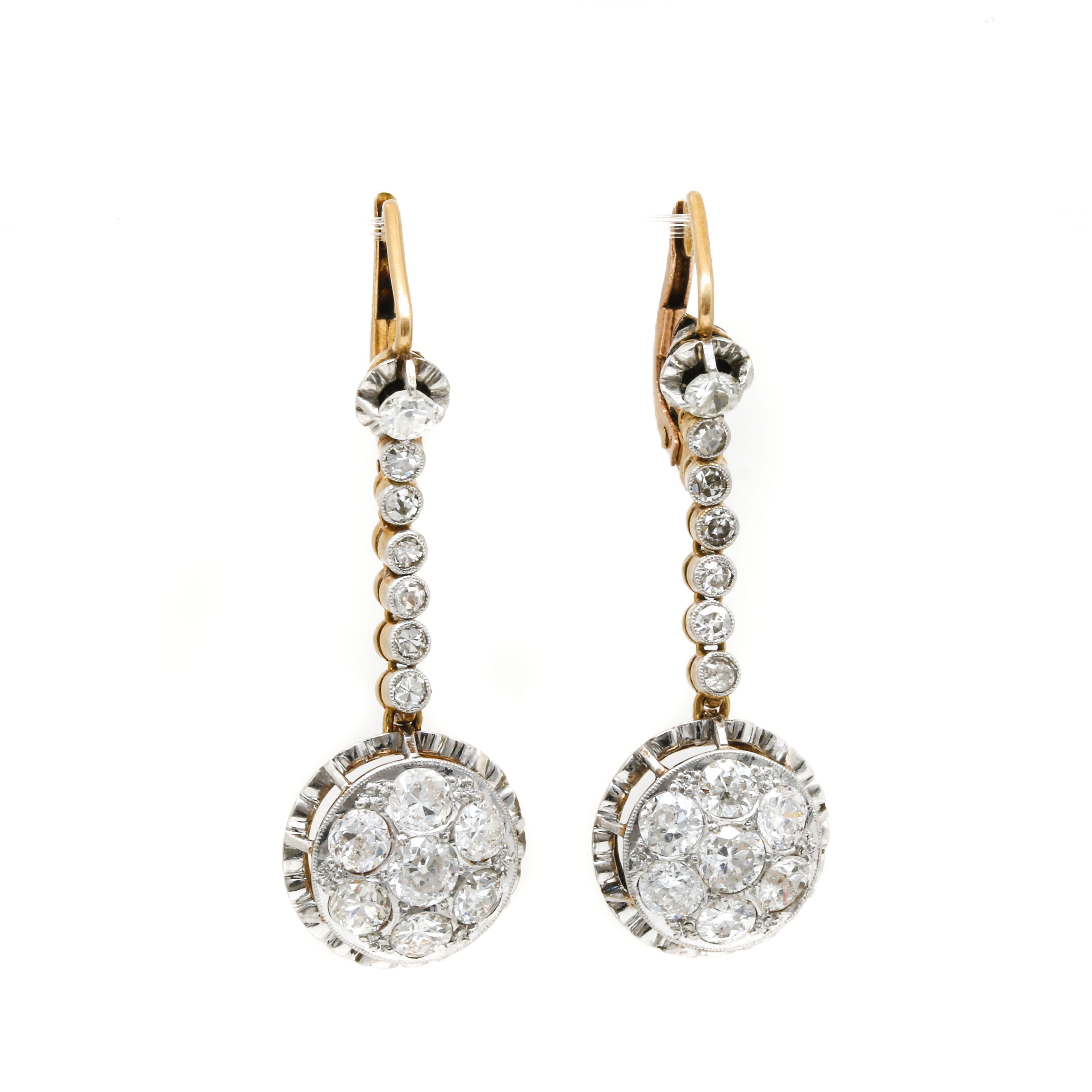 18K Yellow Gold and Platinum 2.70 CTW Diamond Earrings