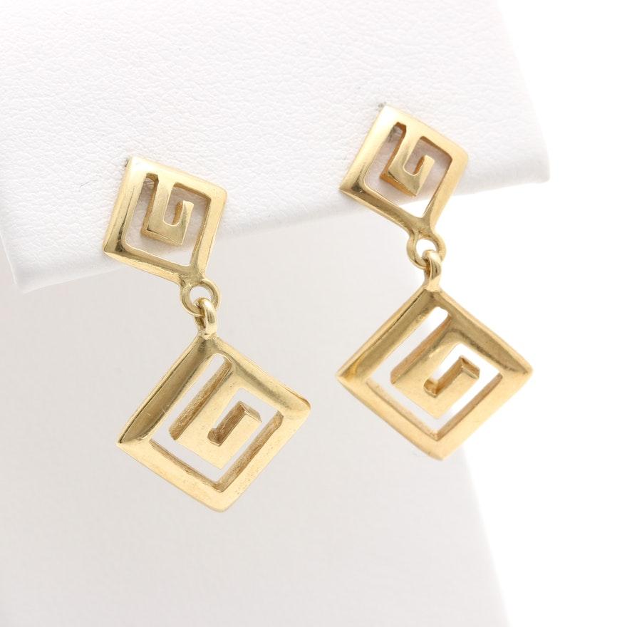 14k Yellow Gold Greek Key Earrings