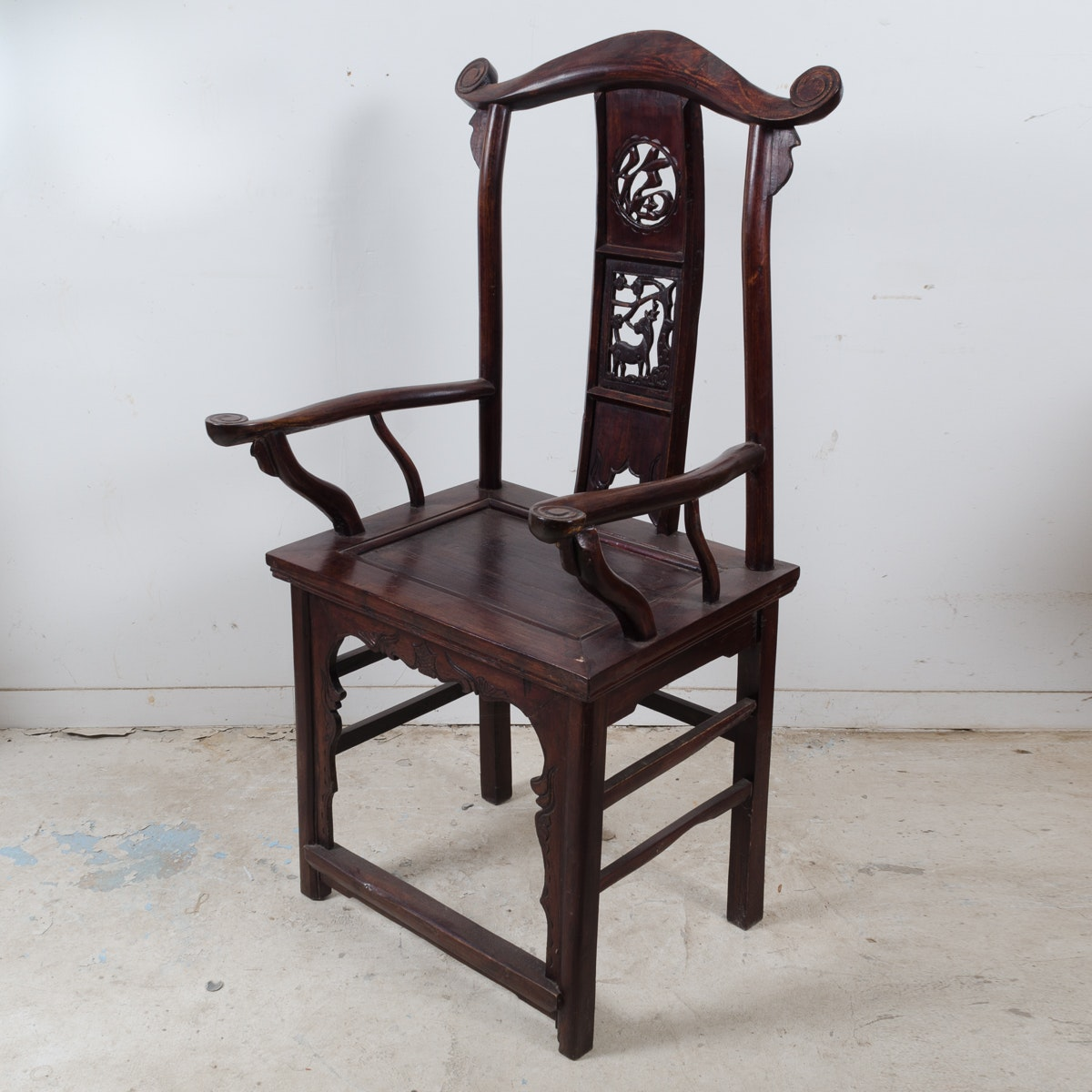 Chinese Carved Yoke Back Armchair