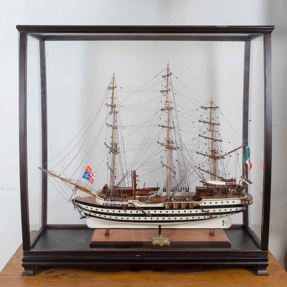 Model Amerigo Vespucci Ship in Wood Display Box