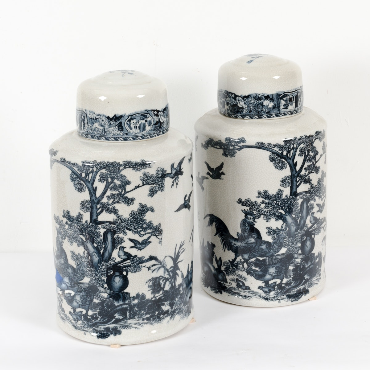 Blue and White Ironstone Ginger Jars
