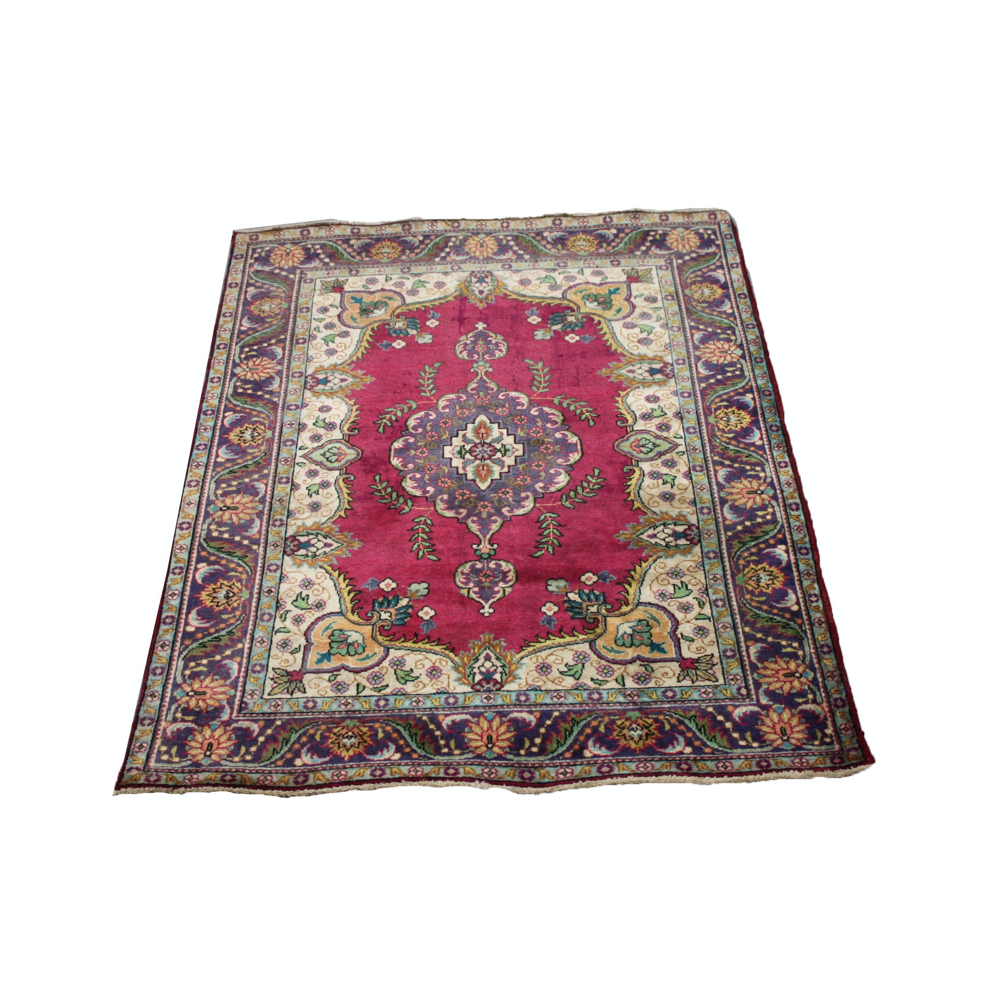 Vintage Hand-Knotted Persian Tabriz Wool Area Rug