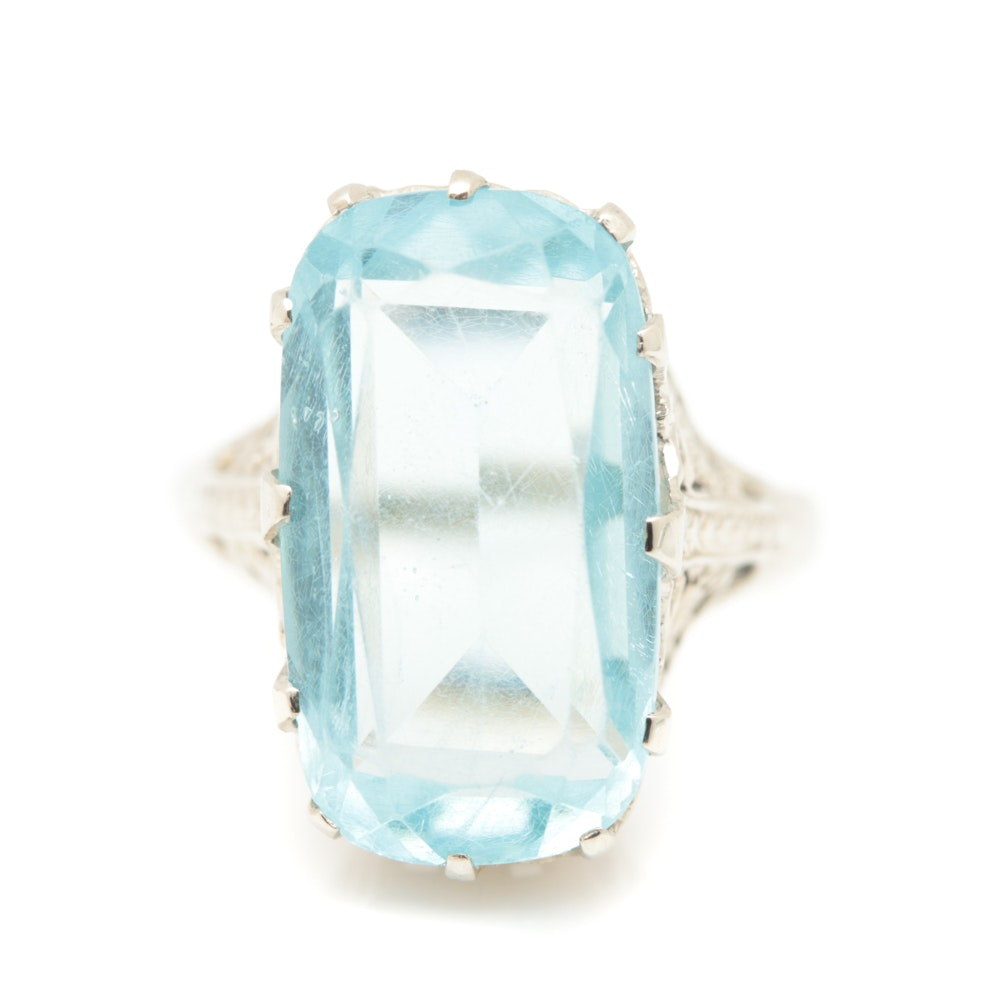 Late Edwardian - Early Art Deco 14K White Gold Glass Ring