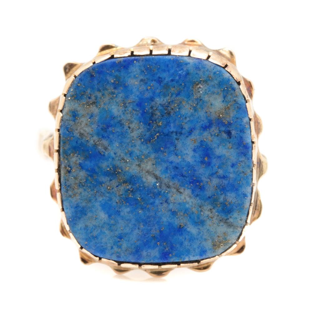 Vintage 10K Yellow Gold Lapis Lazuli Ring