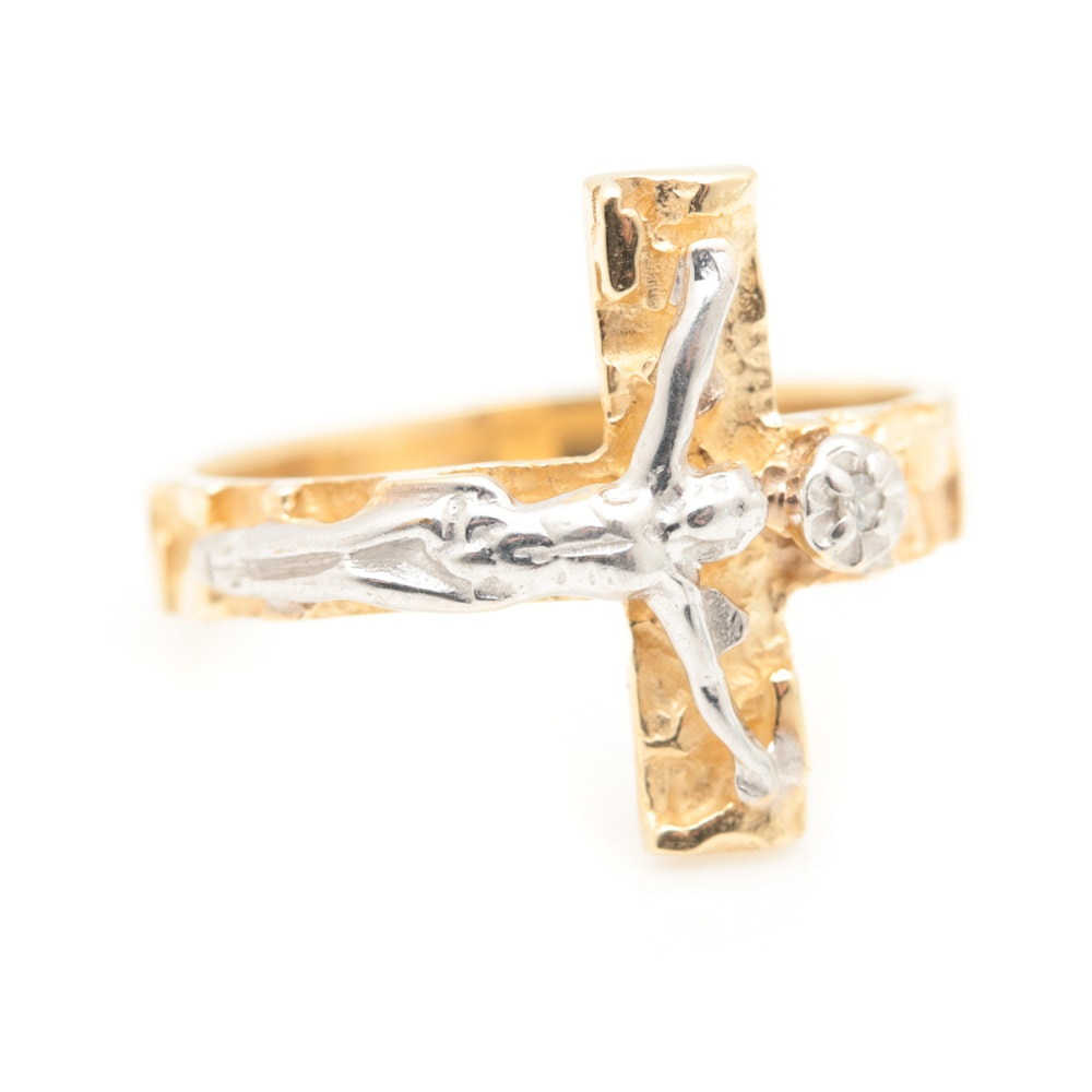 10K White and Yellow Gold Diamond Crucifix Ring