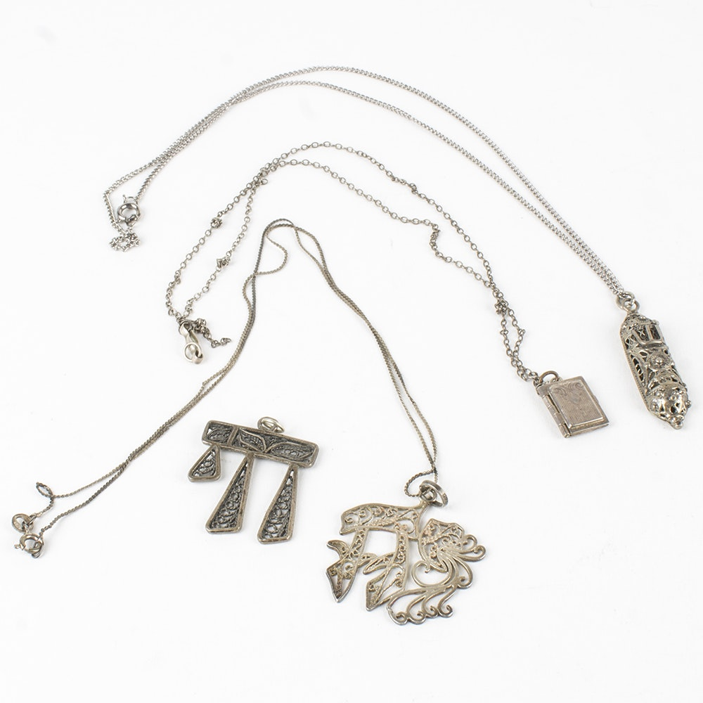 Sterling Silver Jewelry Featuring Mezuzah Necklace Made in Israel