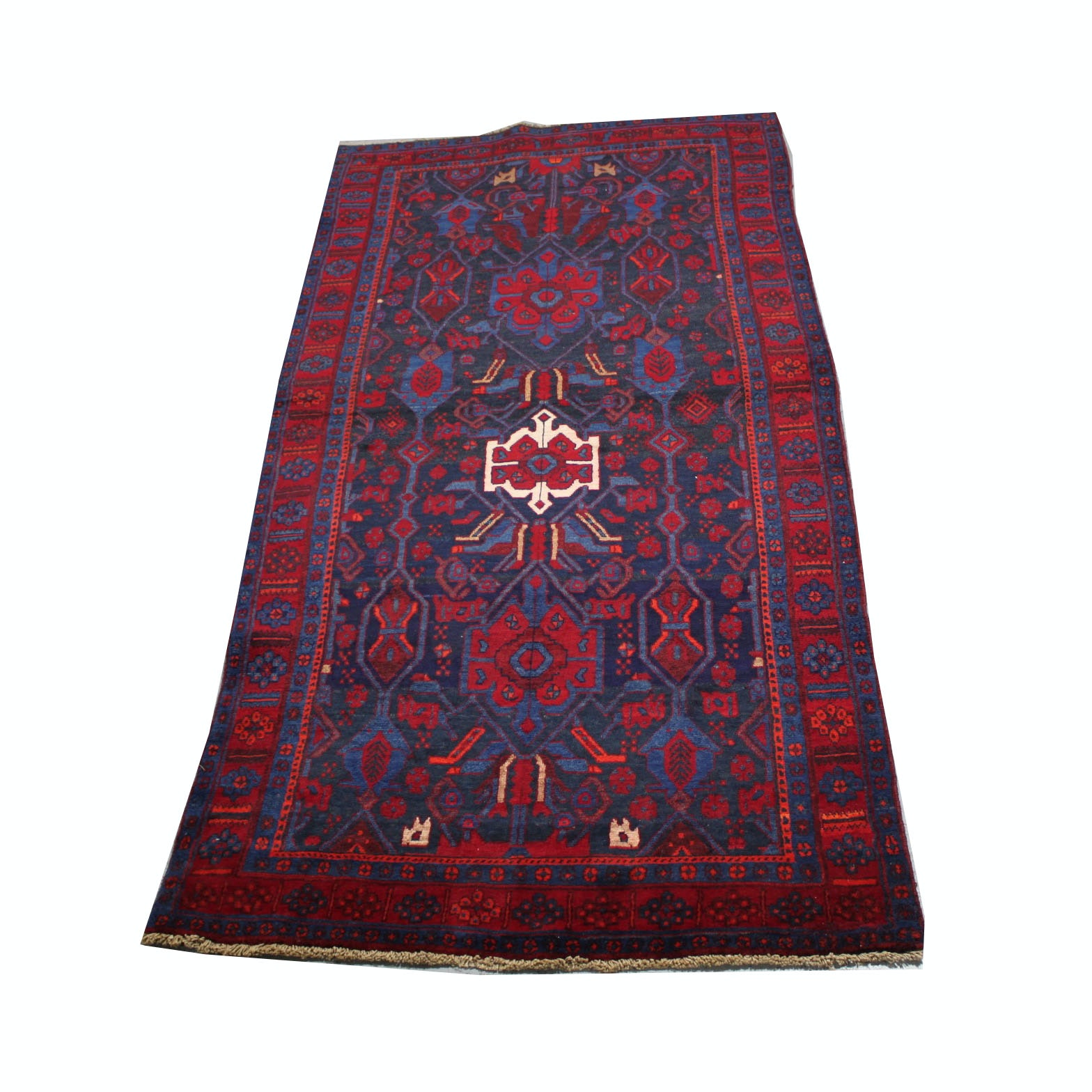 Vintage Hand-Knotted Persian Karaja Heriz Wool Accent Rug