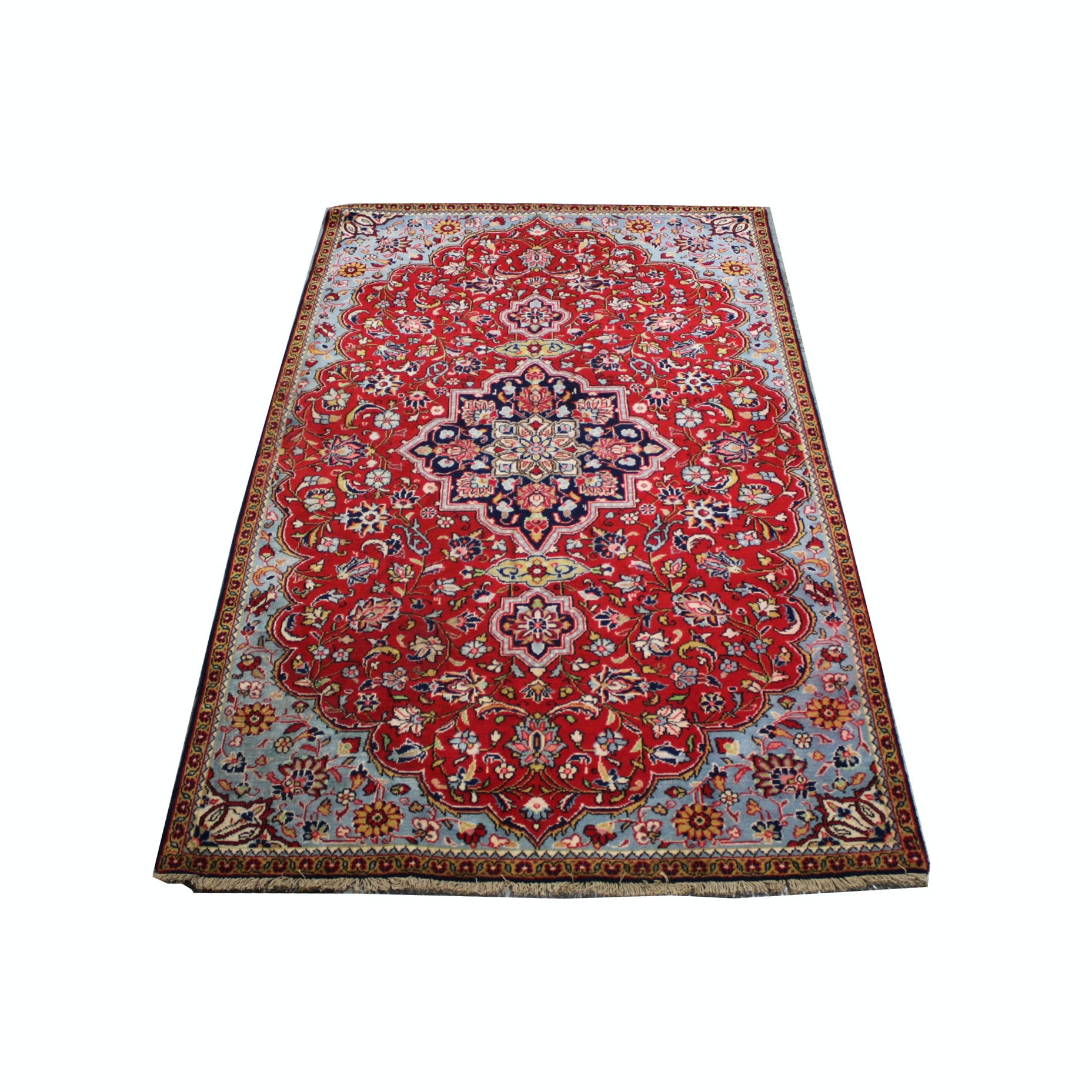 Hand-Knotted Vintage Persian Isfahan Area Rug
