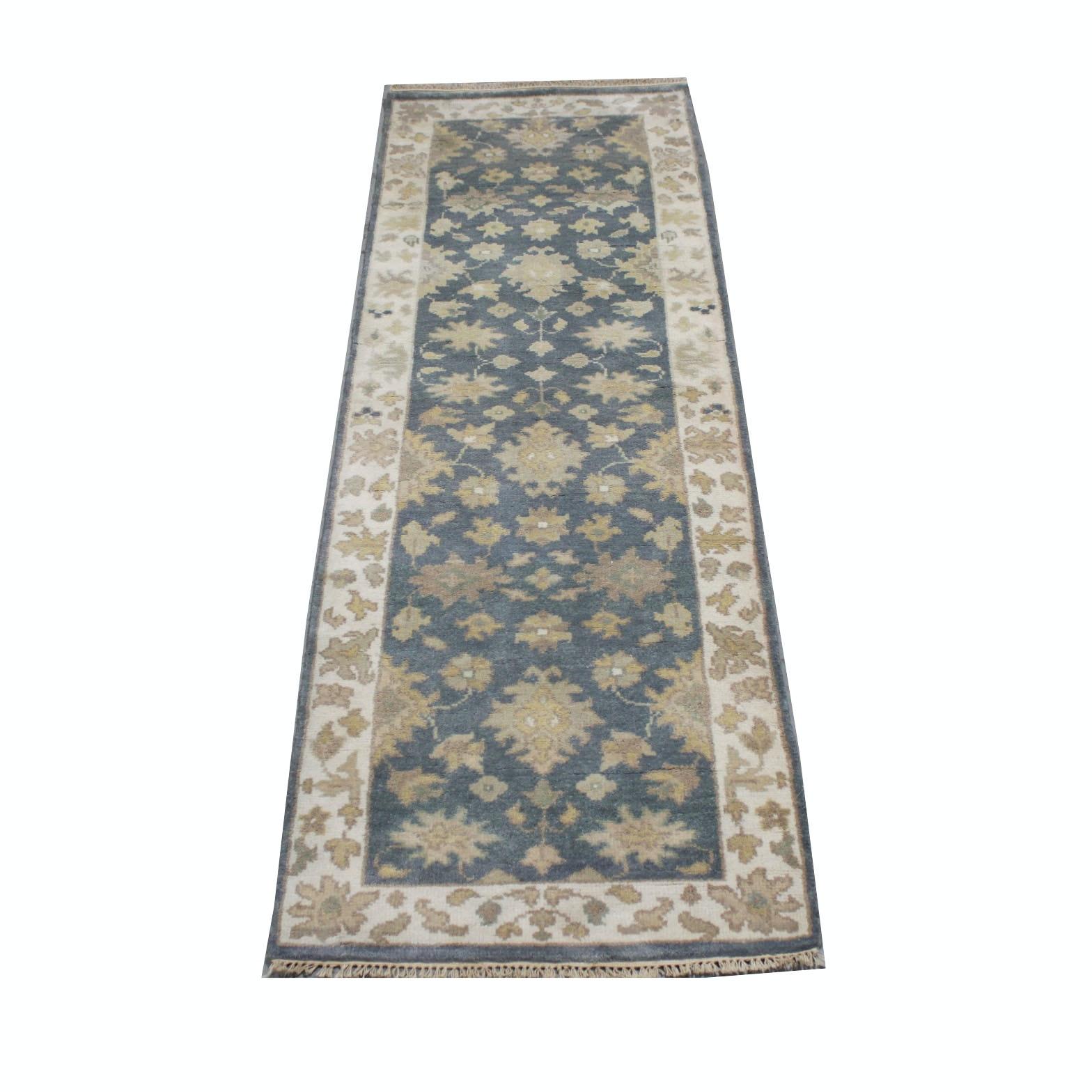Hand-Knotted Indo-Oushak Chobi Carpet Runner