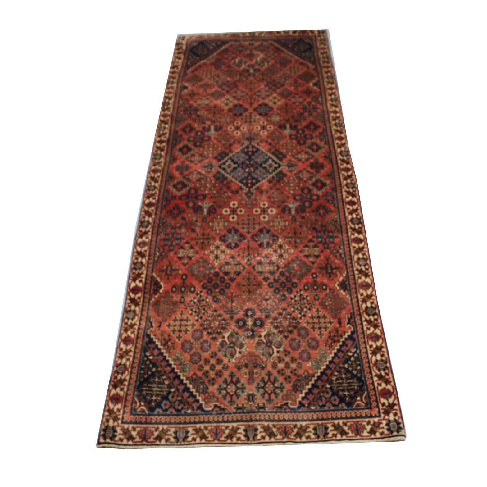 Vintage Hand-Knotted Persian Josheghan Carpet Runner