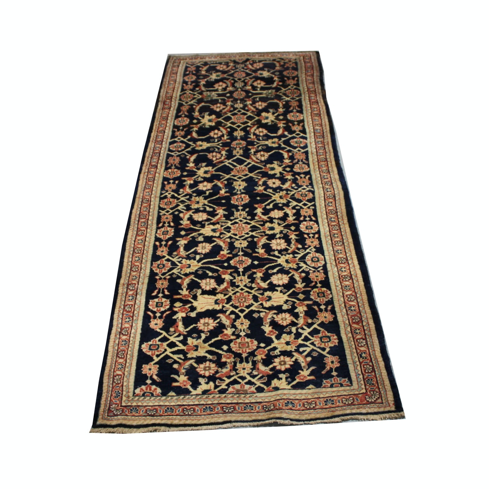 Vintage Hand-Knotted Persian Lilihan Carpet Runner