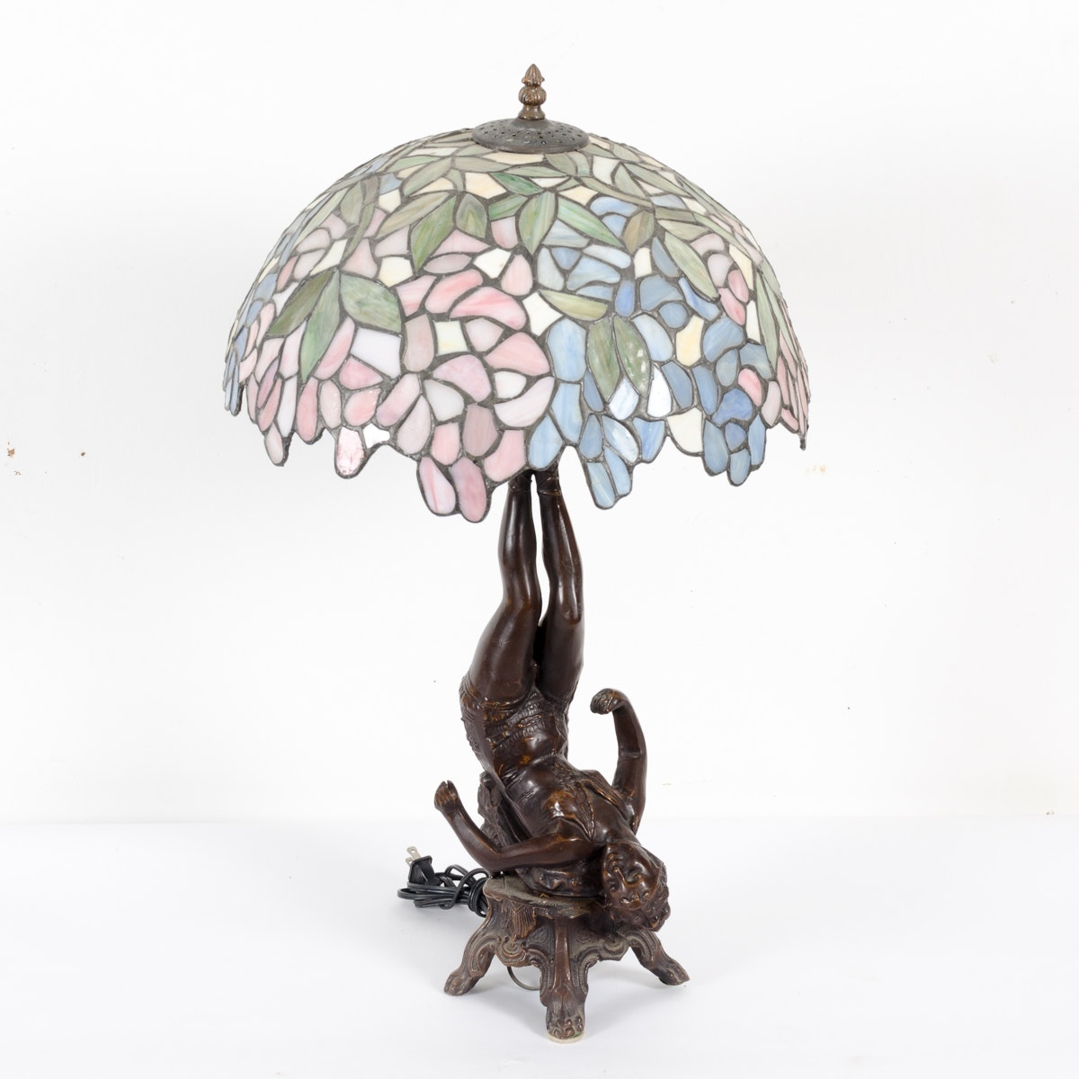 Figural Metal Table Lamp with Tiffany Style Slag Glass Shade