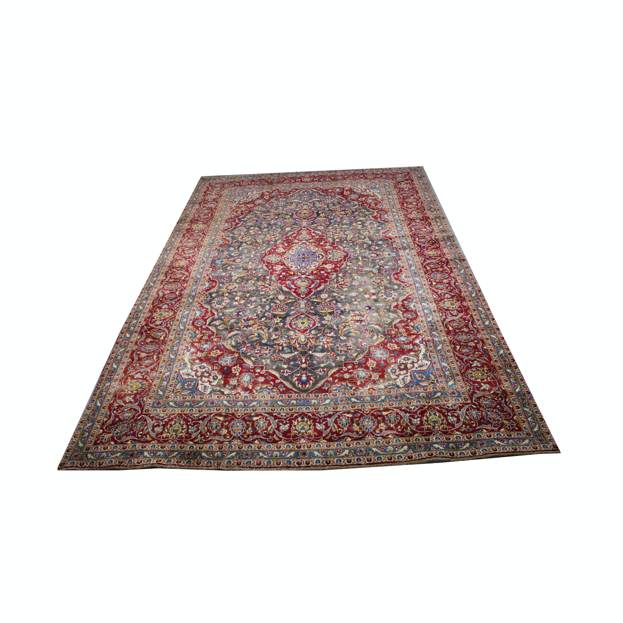 Large Hand-Knotted Persian Kashan Area Rug