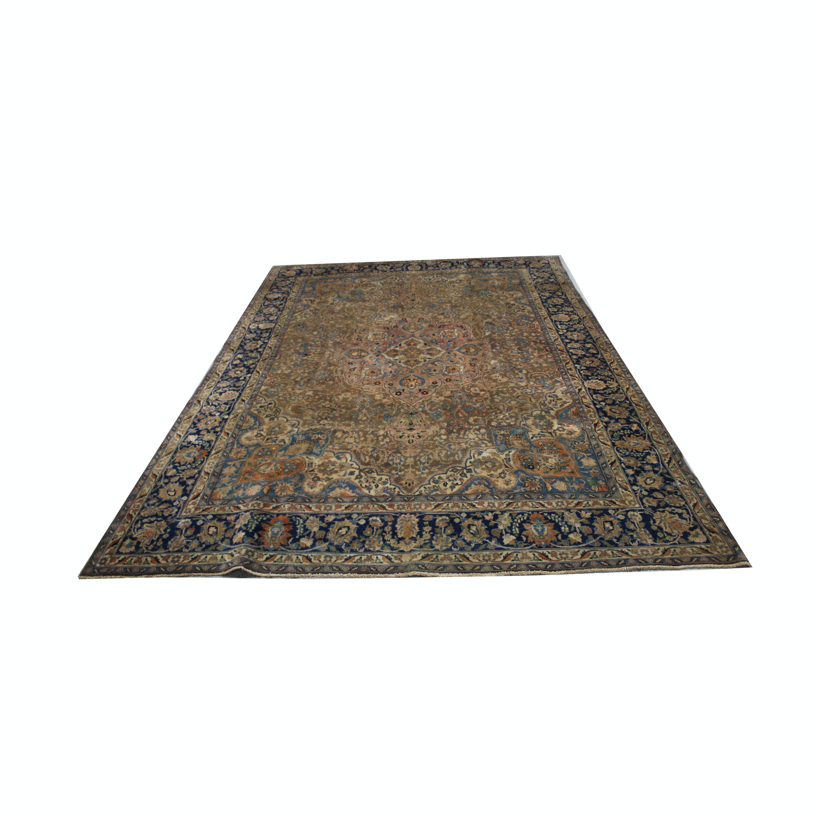 Large Vintage Hand-Knotted Persian Qum Area Rug
