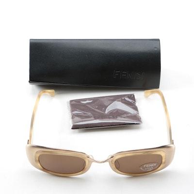 1b89702636 Fendi Gold Tone Metal and Acetate Sunglasses