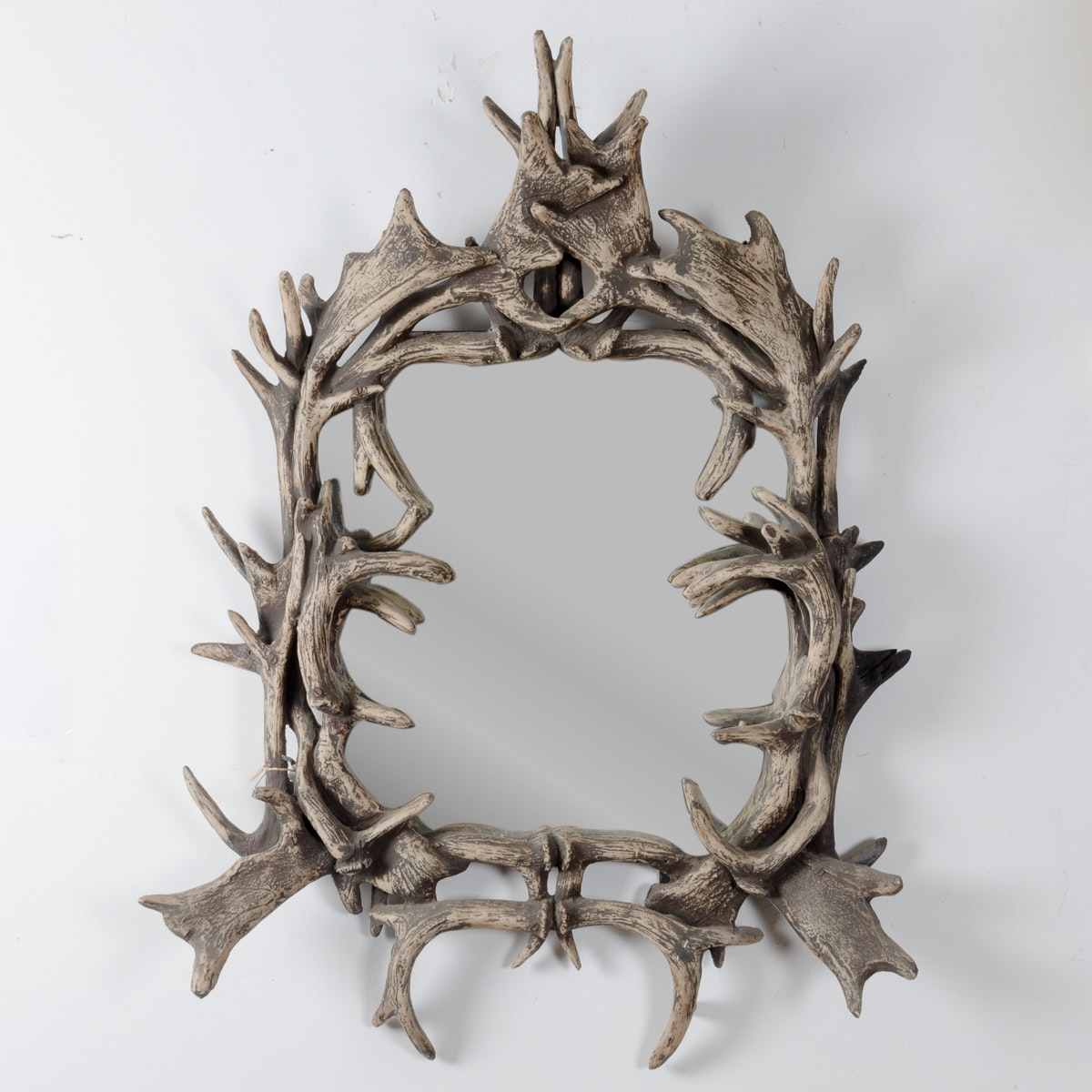Faux Antler Wood Framed Mirror