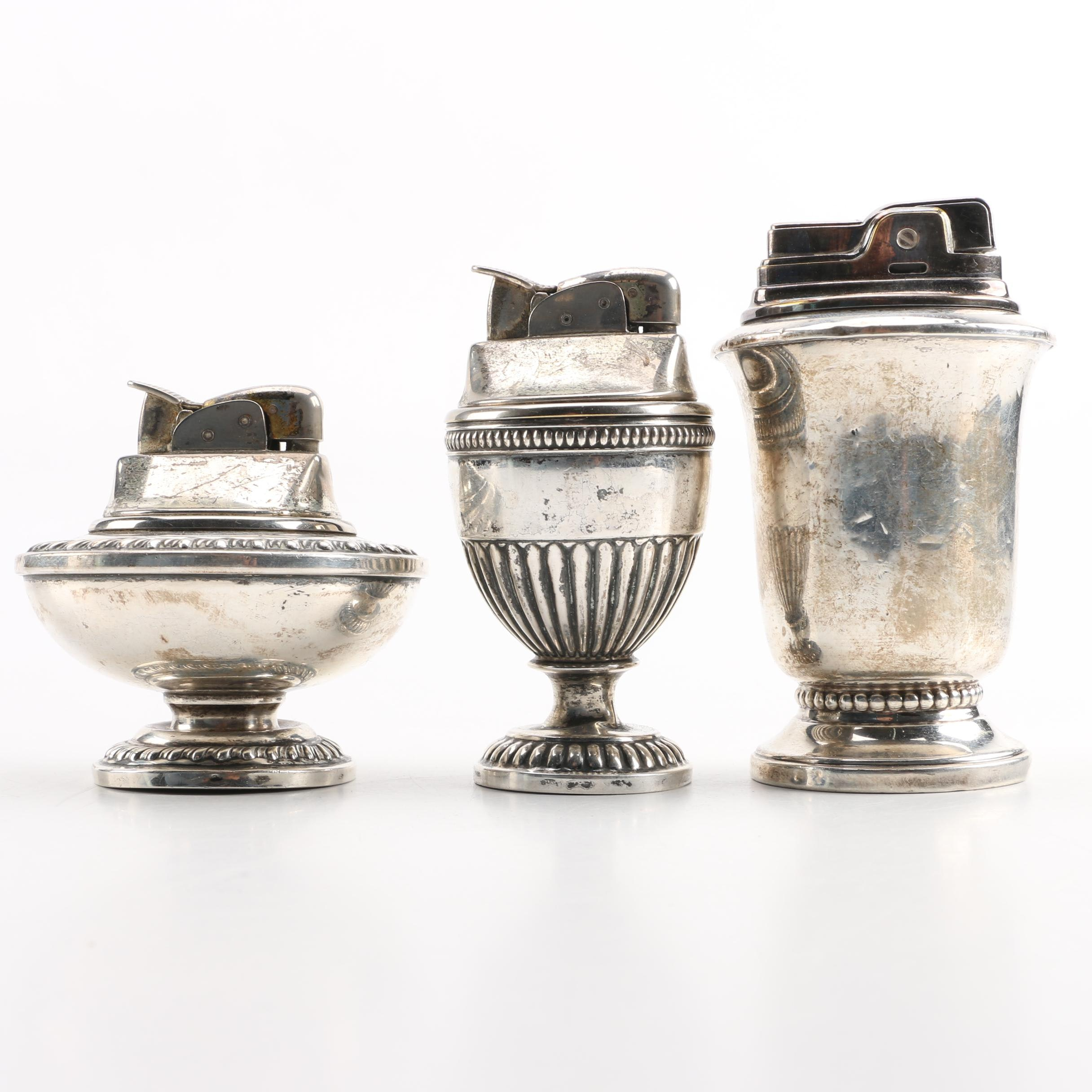 Ronson and Hallmark Sterling Silver Cased Table Lighters