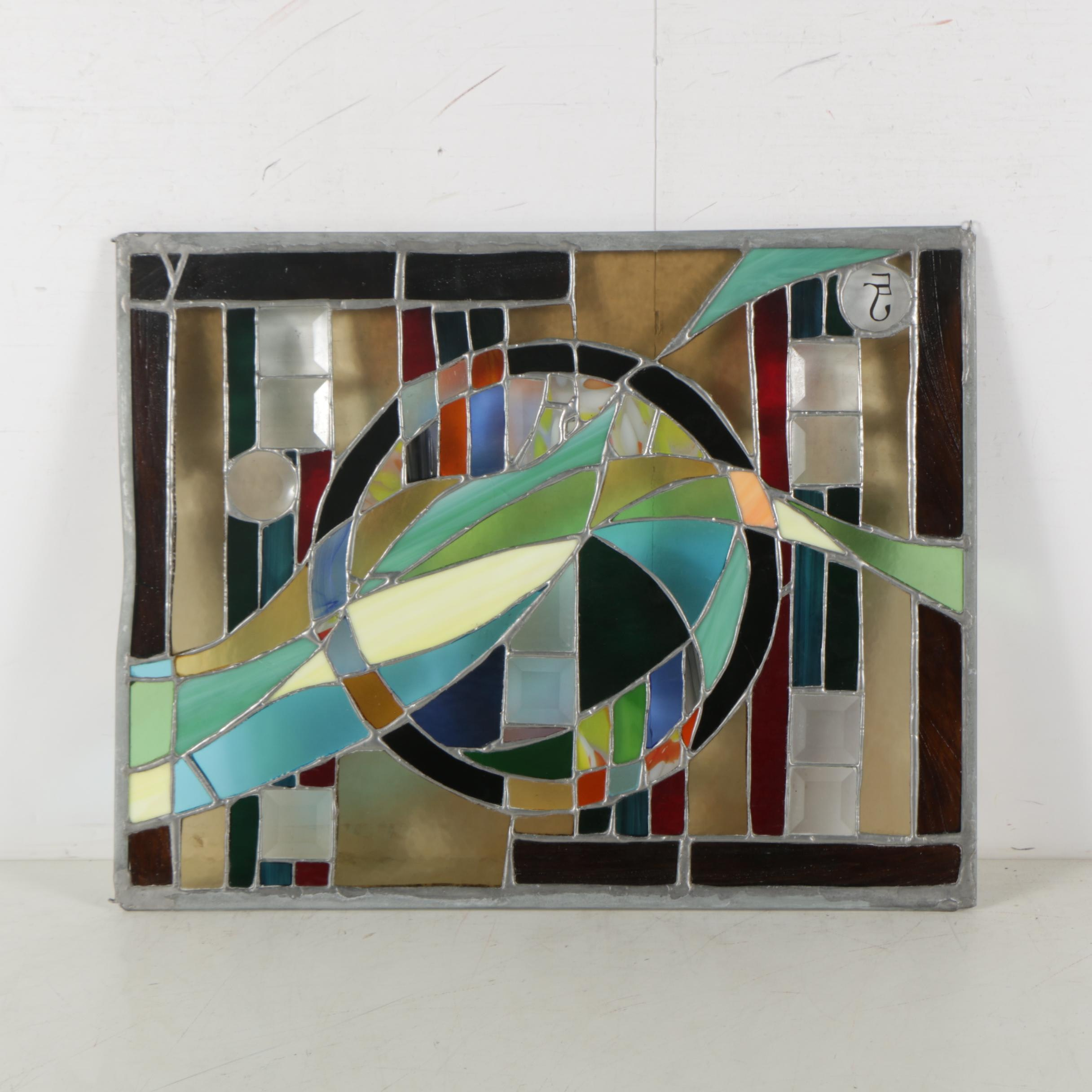 Stained Glass Panel of Abstract Composition