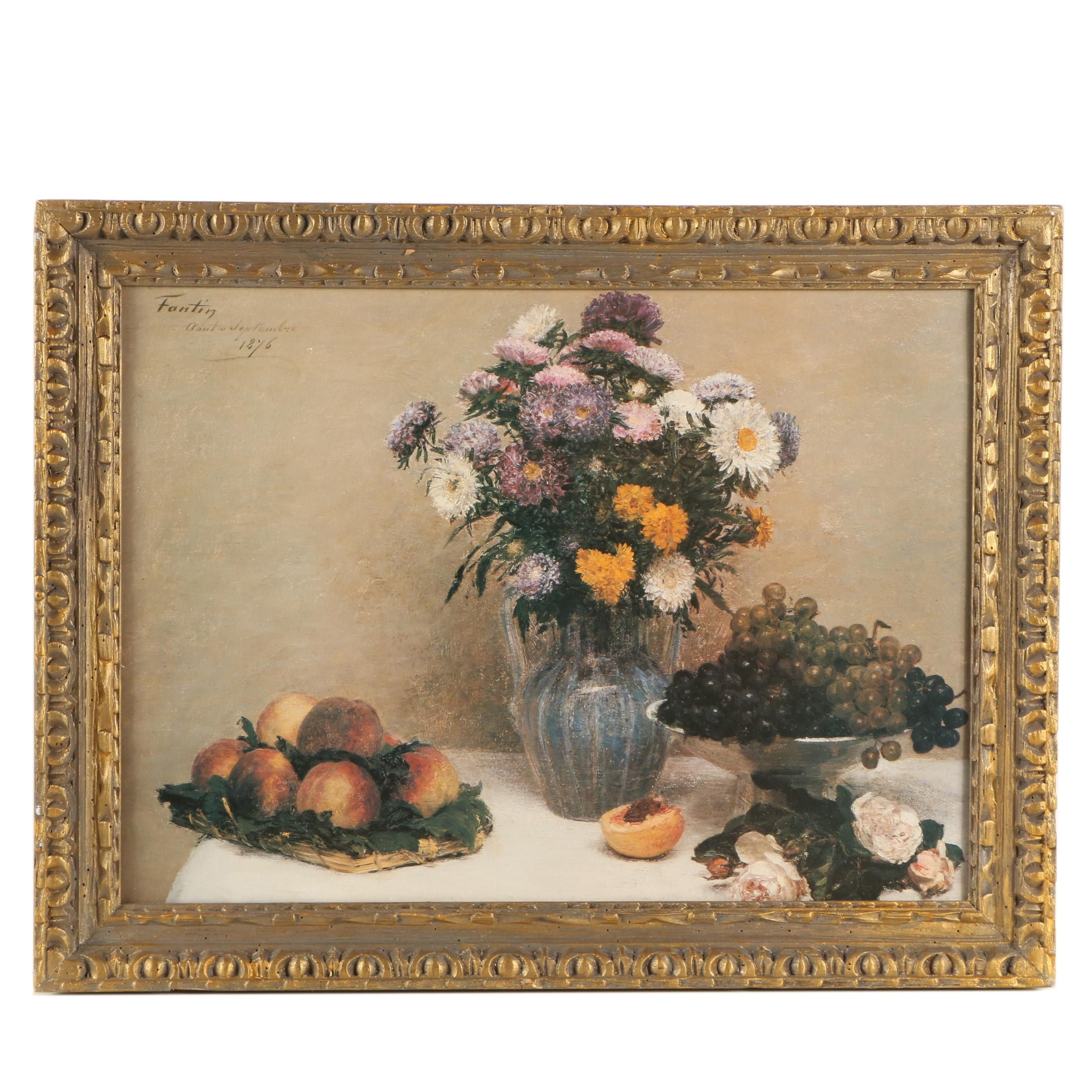 Offset Lithograph After Henri Fantin-Latour Still Life with Flowers and Fruit
