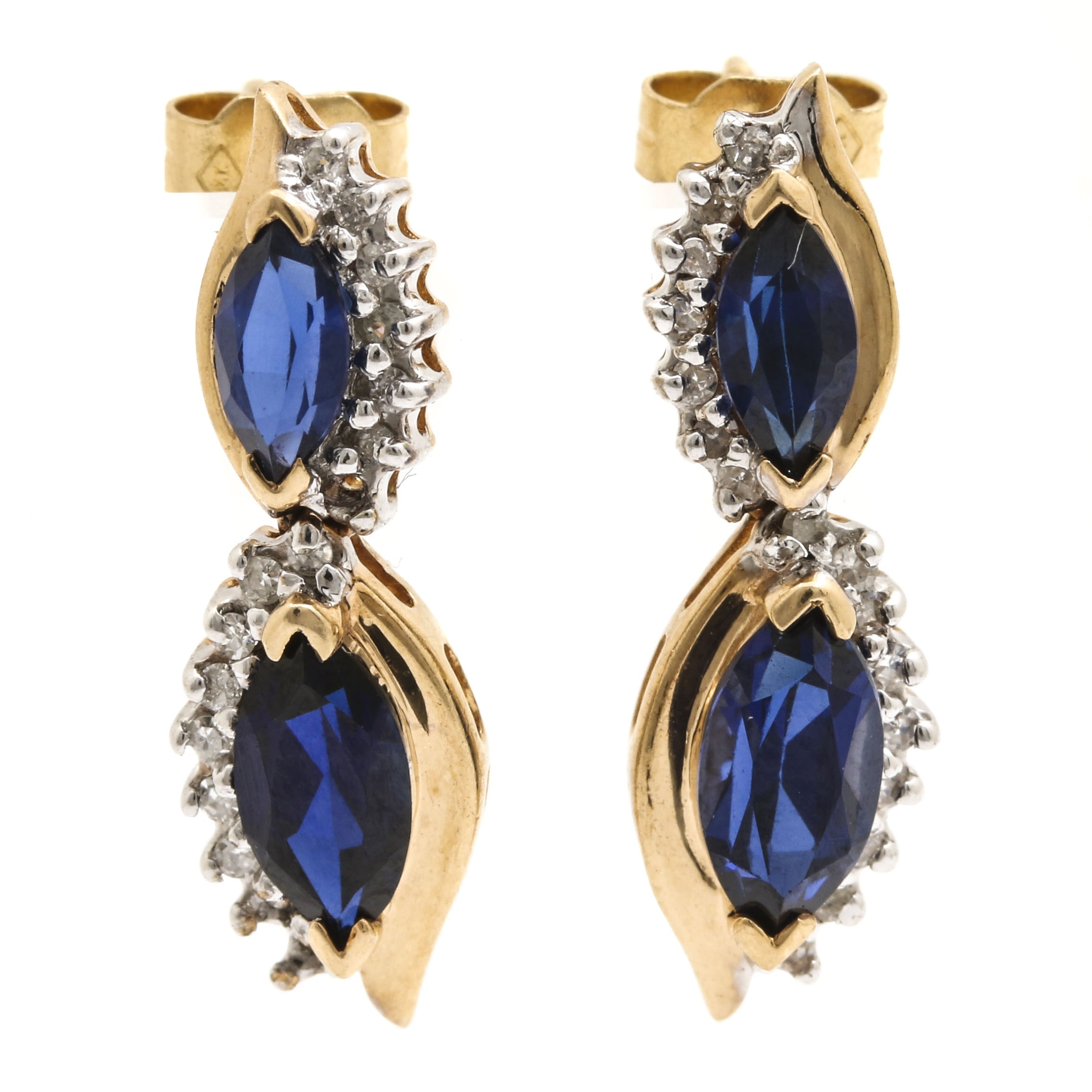 14K Yellow Gold Sapphire and Diamond Dangle Earrings with White Gold Accents